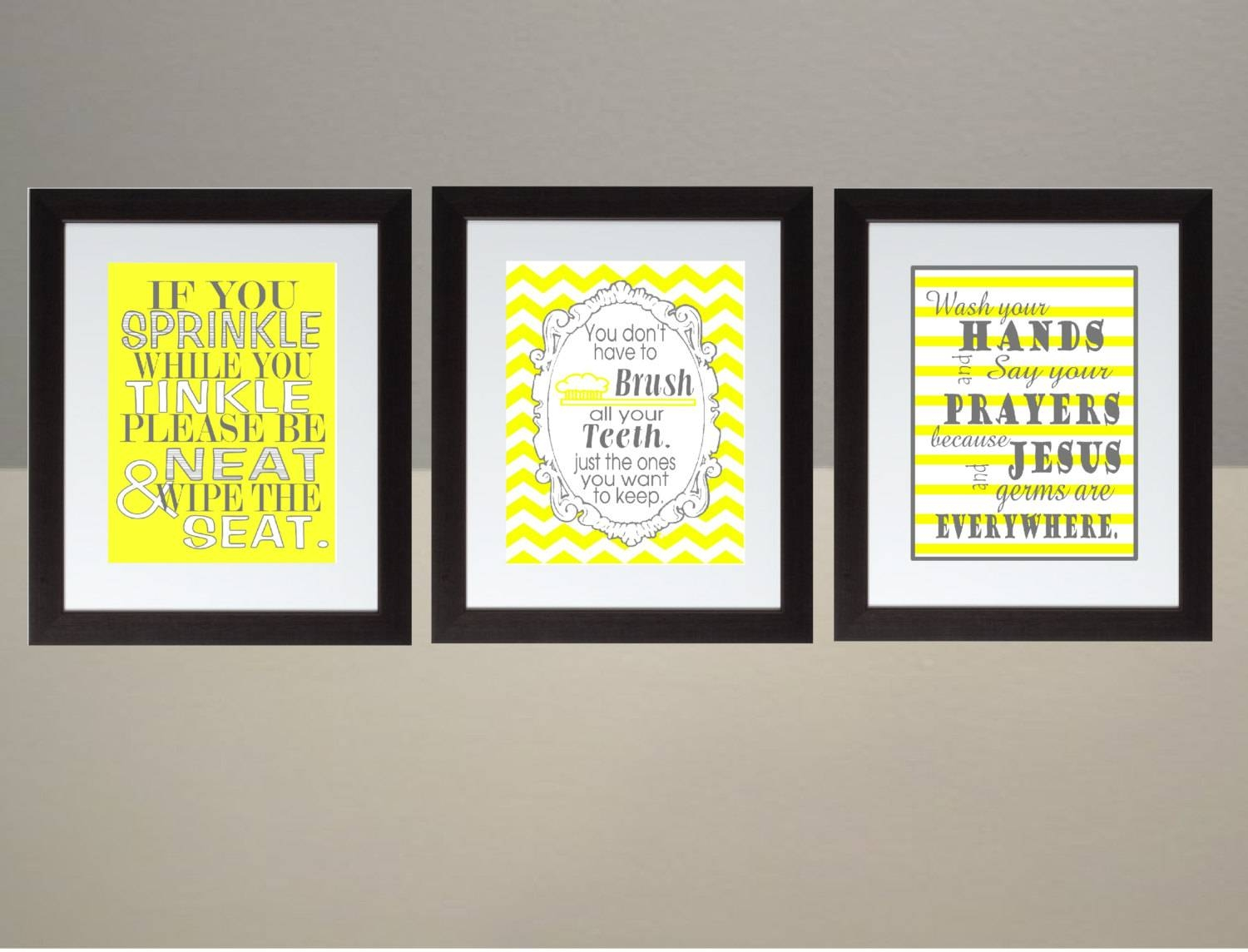 Yellow Gray Chevron Bathroom Wall Art Print Set Poster 8x10 With Regard To Best And Newest Gray And Yellow Wall Art (View 14 of 20)