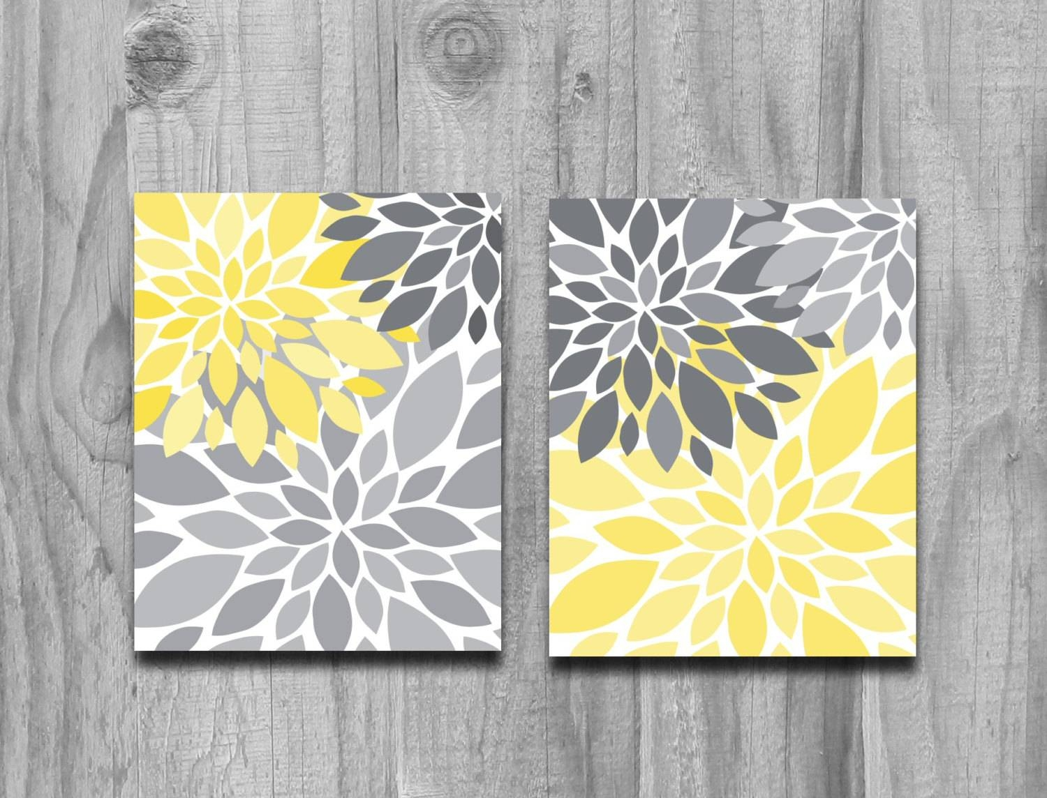 Yellow Gray Flower Petals Burst Canvas Or Print Set Home Decor With Most Recently Released Yellow And Grey Wall Art (View 23 of 25)