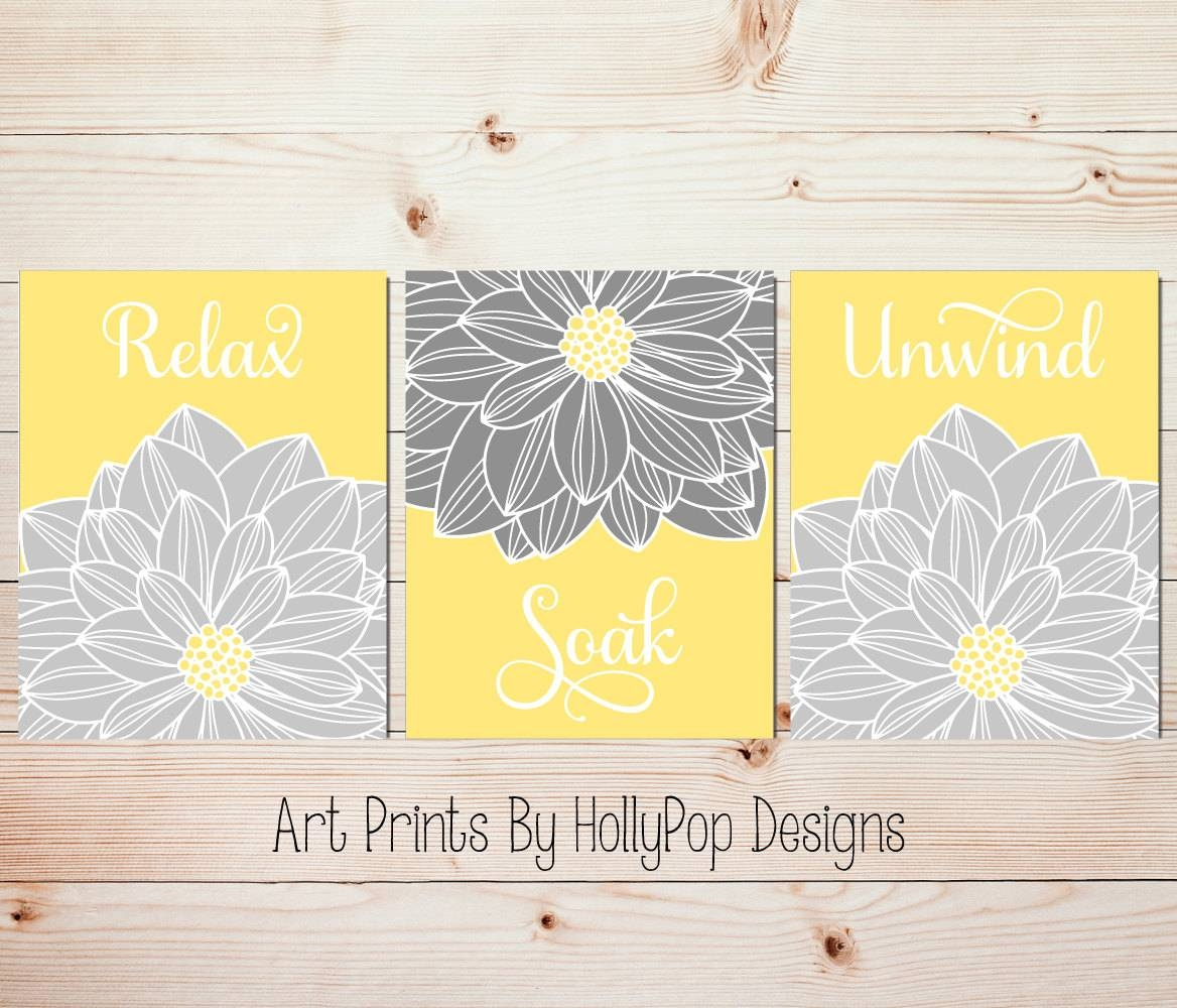Yellow Gray Wall Art Bathroom Wall Art Relax Soak Unwind Inside Most Recently Released Yellow And Grey Wall Art (Gallery 25 of 25)