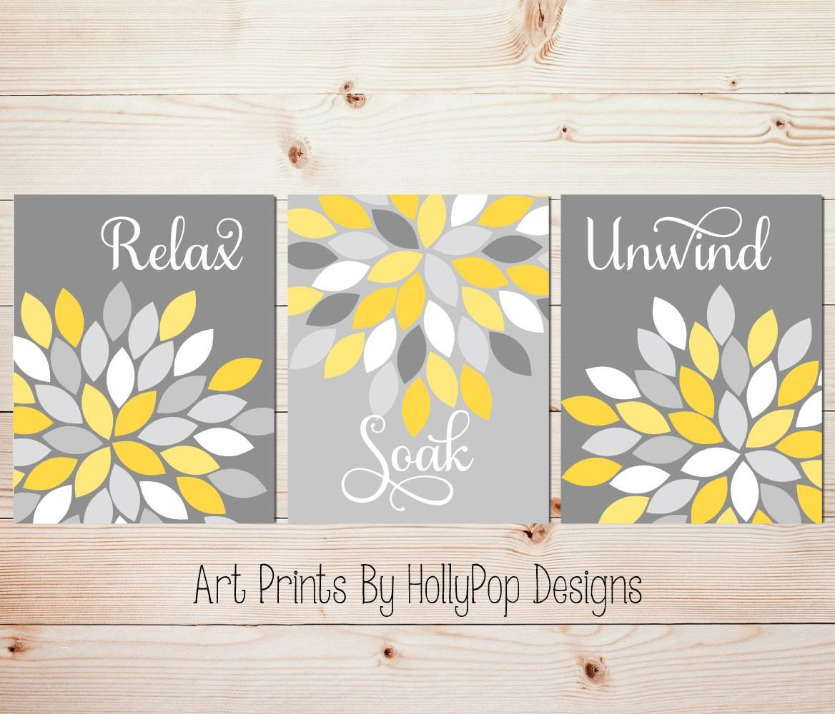 Yellow Gray Wall Art Set Of 3 Bathroom Prints Bathroom Wall With Regard To 2017 Yellow And Grey Wall Art (Gallery 2 of 25)
