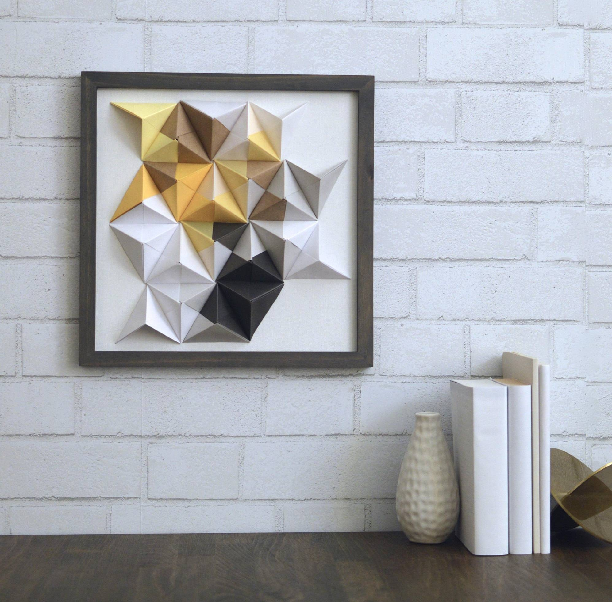 Yellow Grey & White Origami Wall Art 12x12 Modern Wall Art With Regard To 2017 3d Triangle Wall Art (View 15 of 20)