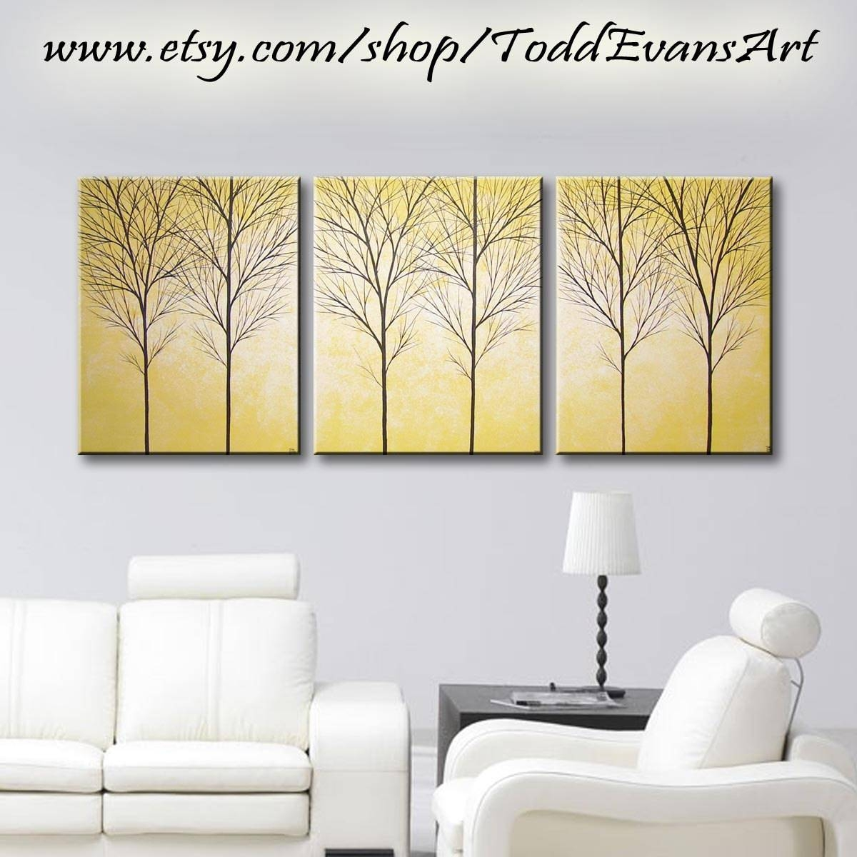 Yellow Painting 3 Piece Wall Art Original Paintings Bedroom With Latest Large Yellow Wall Art (Gallery 5 of 20)