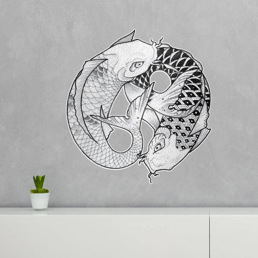 2018 latest yin yang wall art for Koi carp wall art