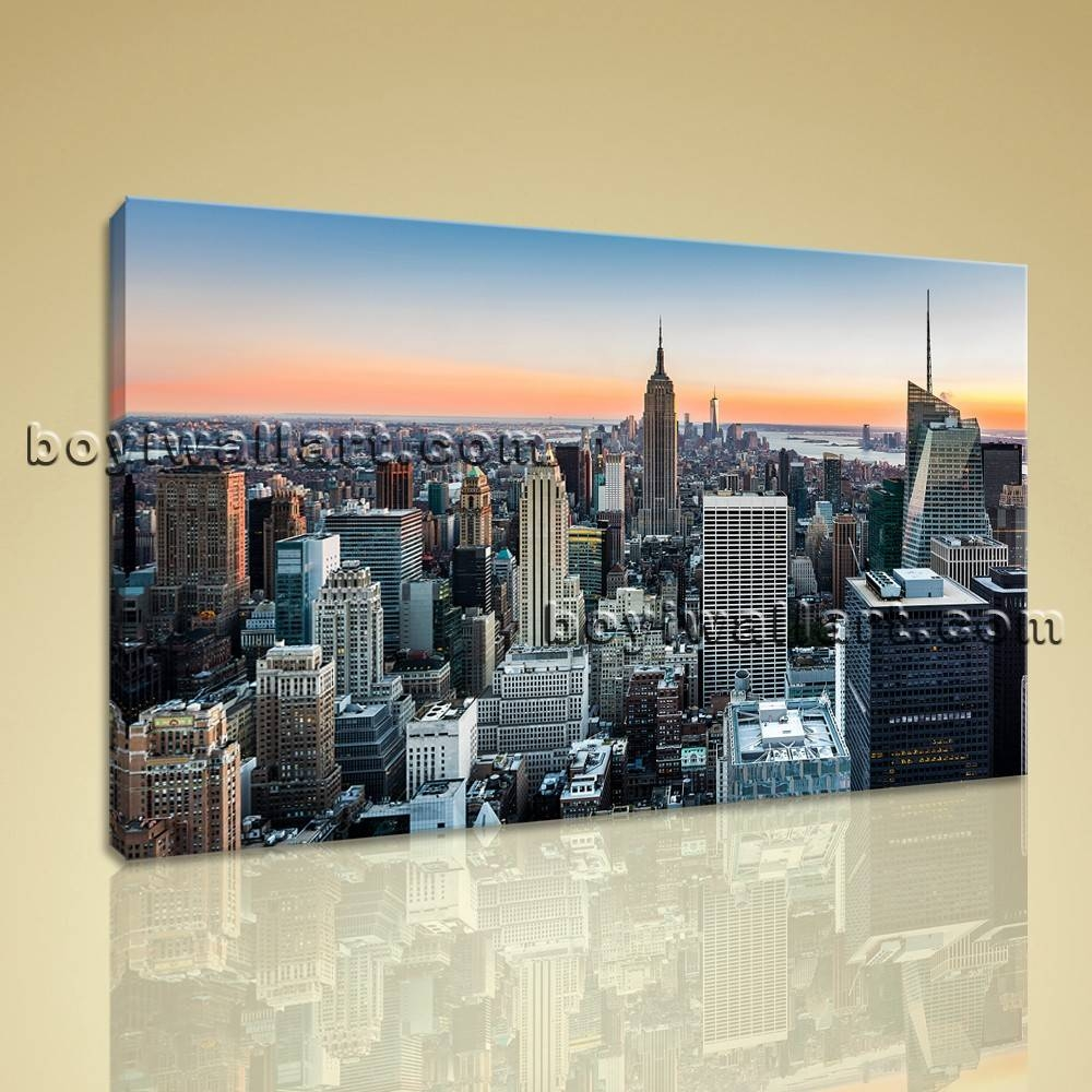 York City Landscape Night Scene Modern Canvas Wall Art Hd Print Intended For Current New York City Canvas Wall Art (Gallery 8 of 20)