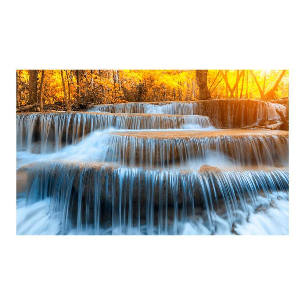"Yosemite 36 In. X 60 In. ""autumn Waterfall"" Tempered Glass Wall Intended For Latest Waterfall Wall Art (Gallery 7 of 20)"