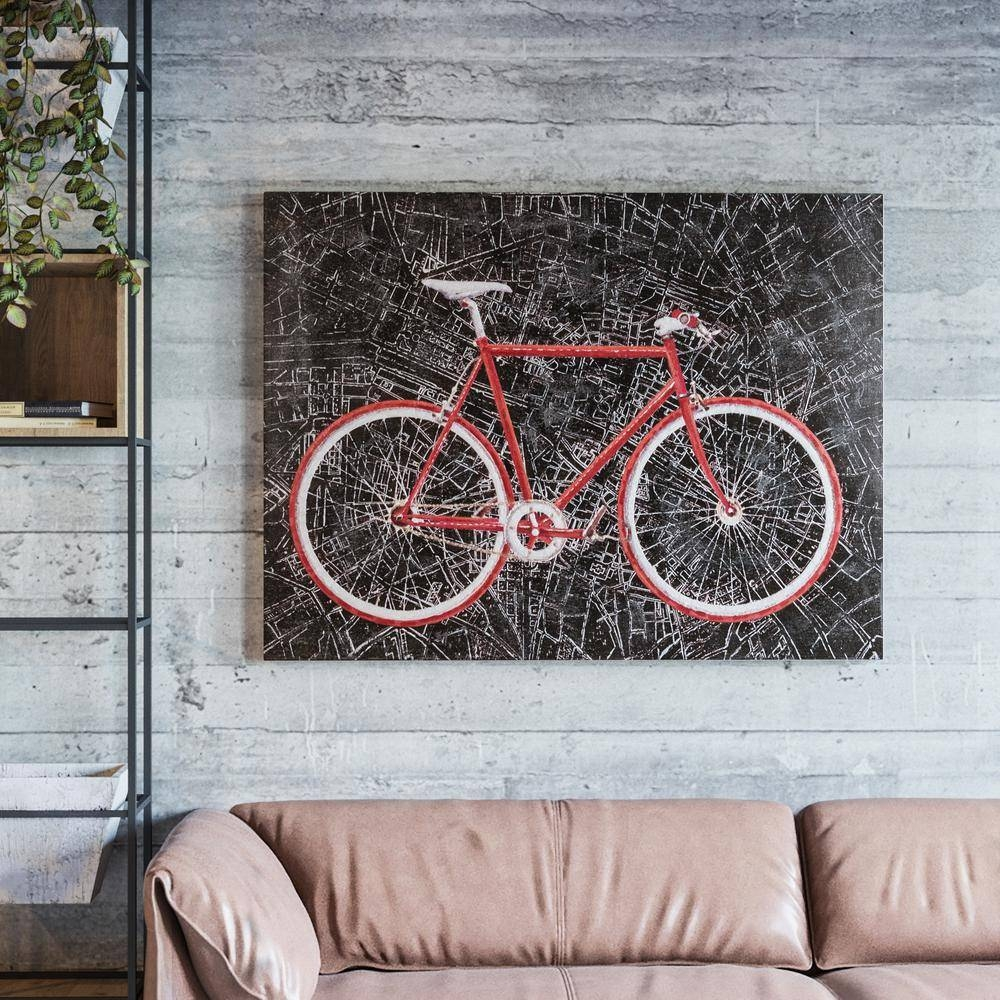 "Yosemite Home Decor 36 In. X 48 In. ""city Cycling"" Hand Painted For Recent Cycling Wall Art (Gallery 4 of 25)"