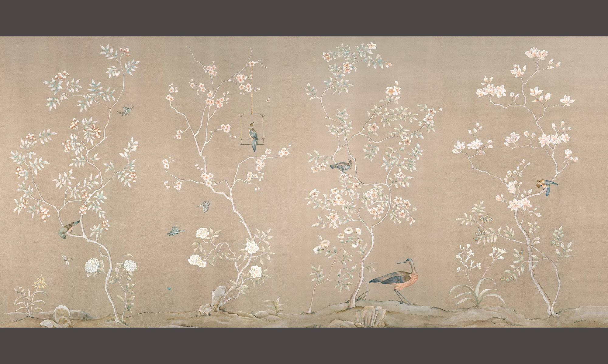 Zoë Design | Hand Painted Chinoiserie Mural Wallpaper Intended For 2017 Chinoiserie Wall Art (View 23 of 30)
