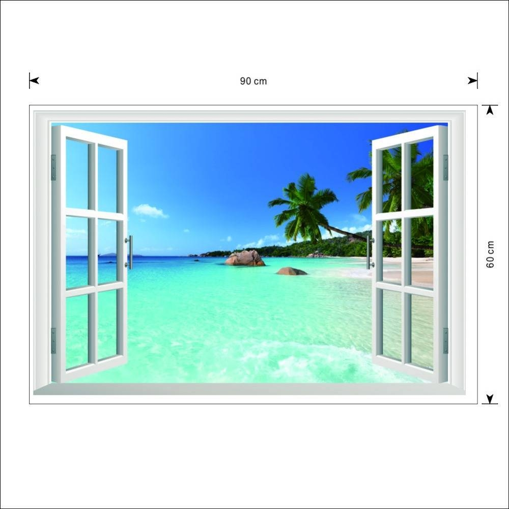 Zy1430 Beach Resort 3D Window View Removable Wall Art Sticker With Regard To Most Current Beach 3D Wall Art (View 20 of 20)