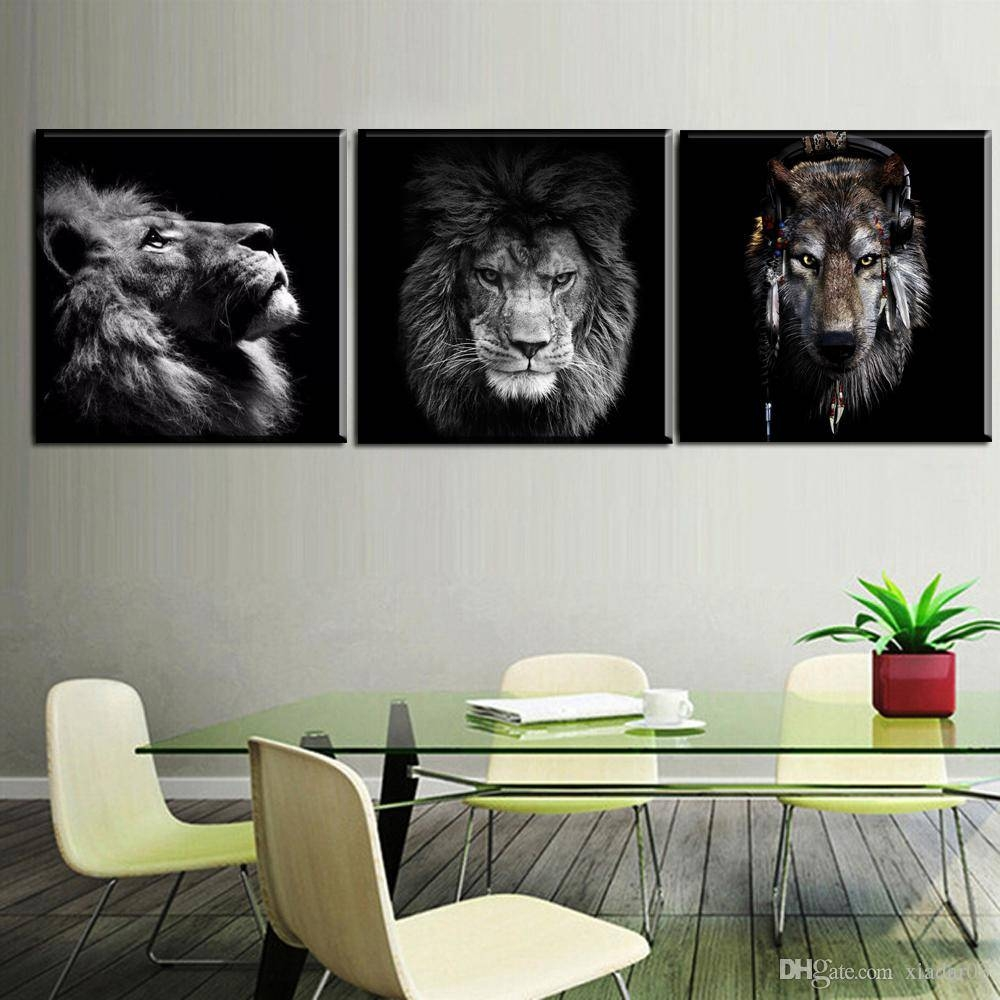 Zz1478 Black White Canvas Prints Modern Wall Decor Art Lion Animal In Recent Animal Canvas Wall Art (View 1 of 20)