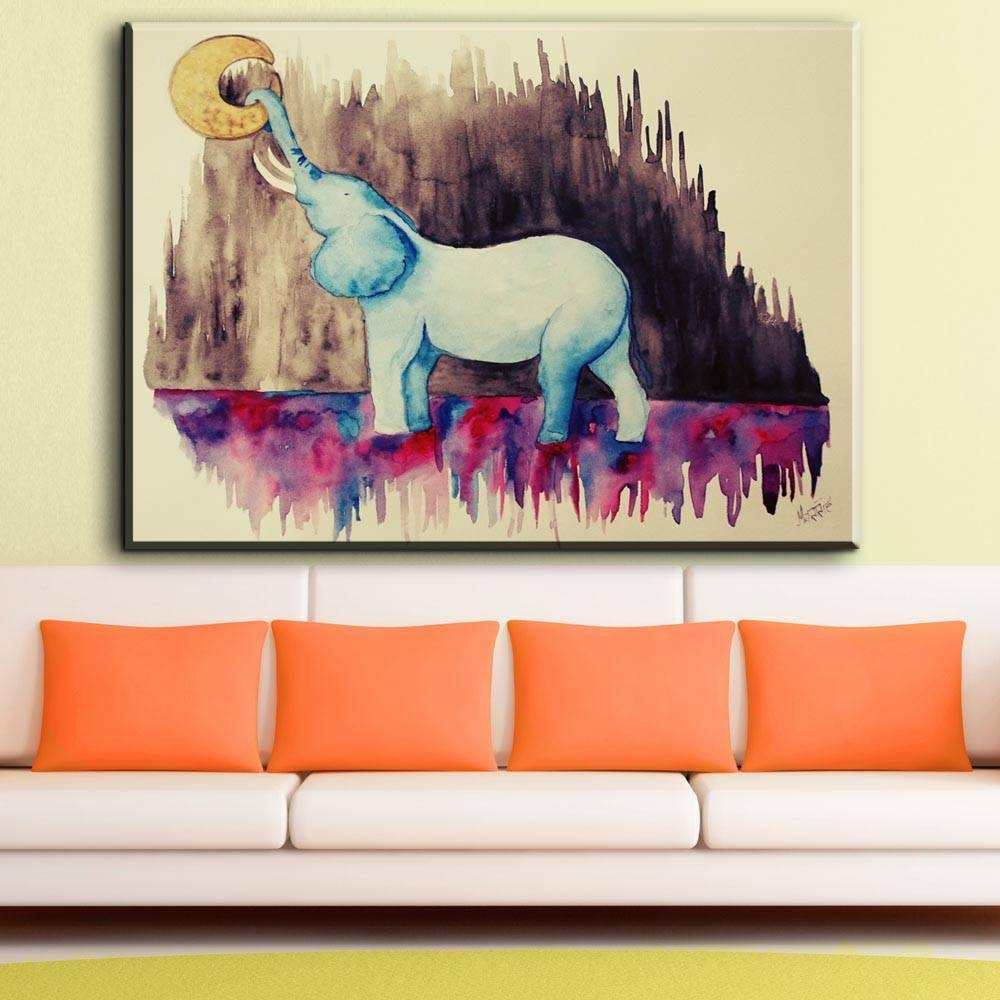 Zz2171 Watercolor Canvas Wall Art Abstract Elephant Animal Canvas Pertaining To Recent Animal Canvas Wall Art (View 20 of 20)