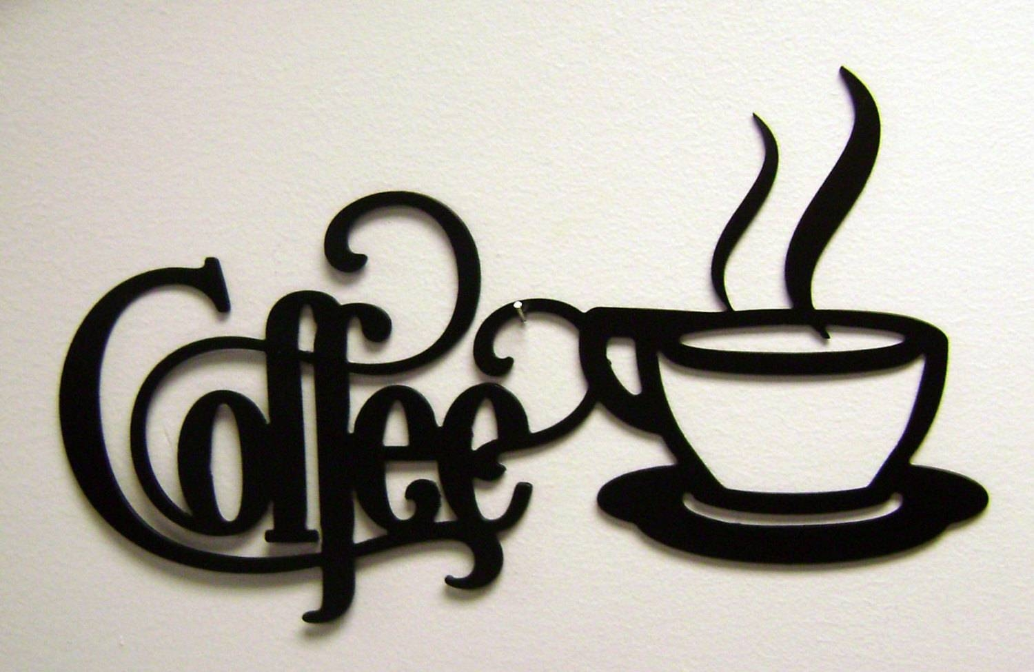 14 X 7 Bistro Coffee Sign With Mug Metal Wall Intended For Recent Coffee Cup Metal Wall Art (View 11 of 20)