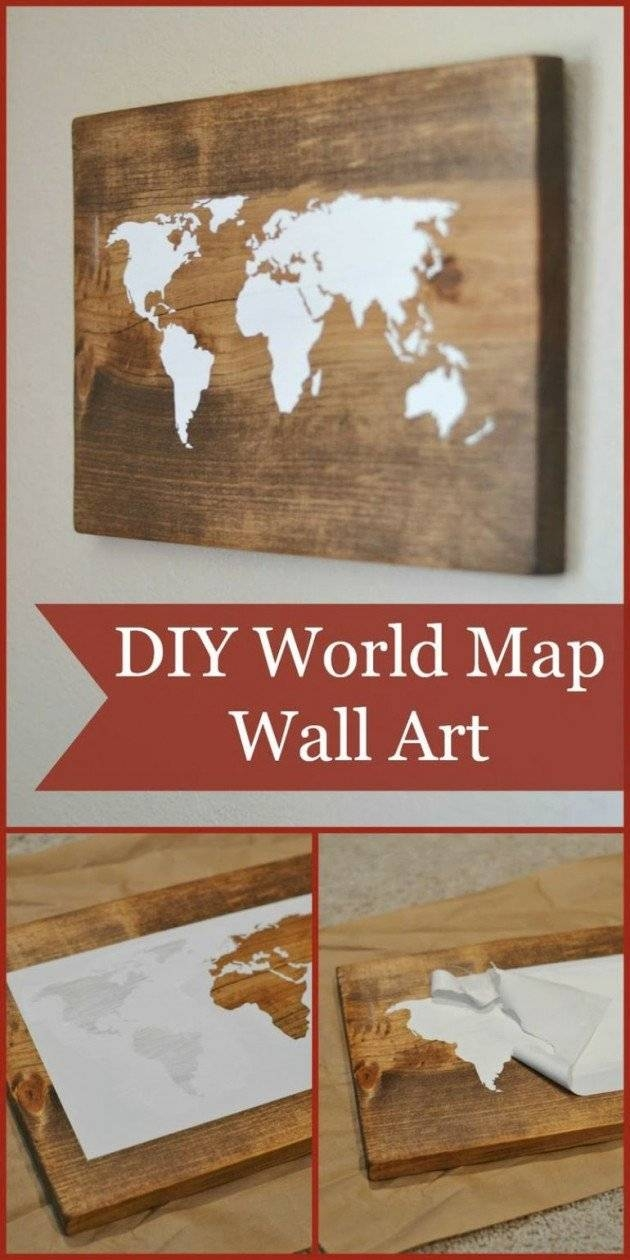 15 Extremely Easy Diy Wall Art Ideas For The Non Skilled Diyers Intended For Most Recently Released Wood Map Wall Art (View 1 of 20)