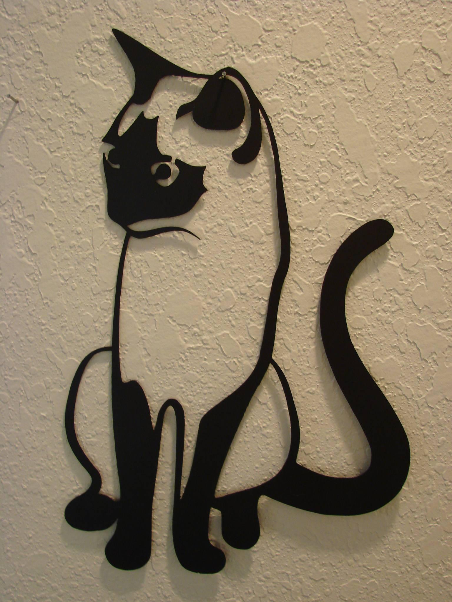 16 Gauge Plasma Cut Kitty Cat Metal Wall Art – : Intended For Most Popular Cat Metal Wall Art (View 2 of 20)