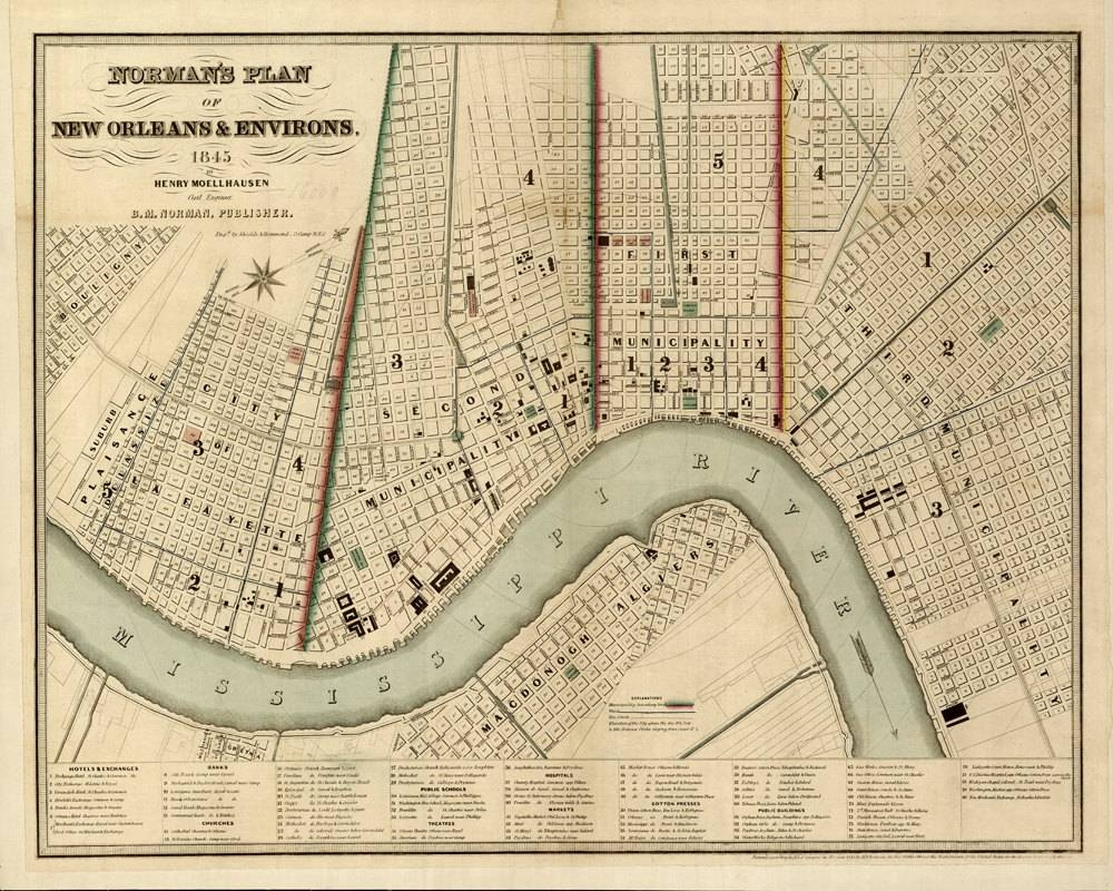 1845 Map Of New Orleans Intended For 2017 New Orleans Map Wall Art (Gallery 3 of 20)