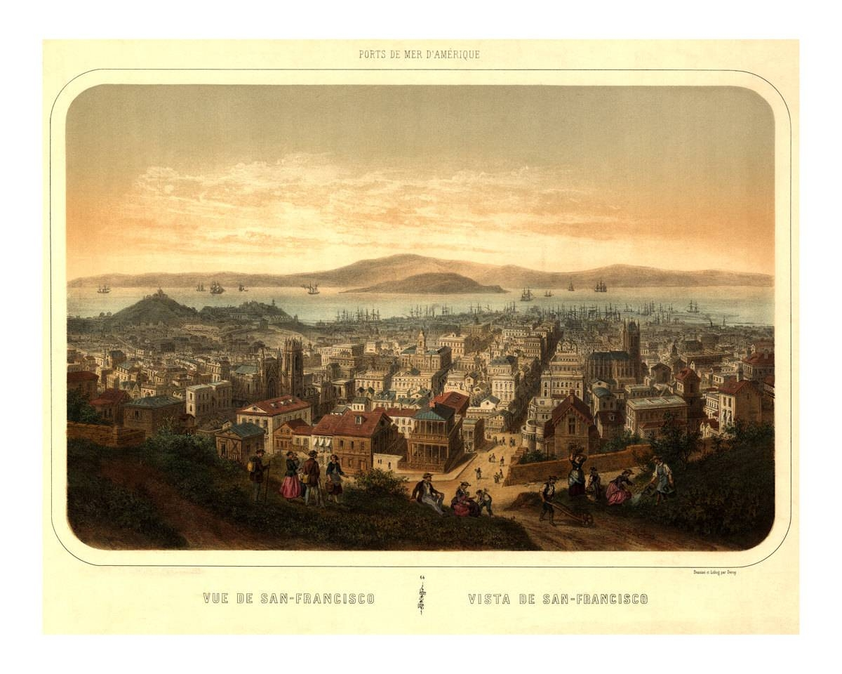 1846 Vue De San Francisco – Old Maps And Prints – Vintage Wall Art Regarding Most Current San Francisco Map Wall Art (View 2 of 20)