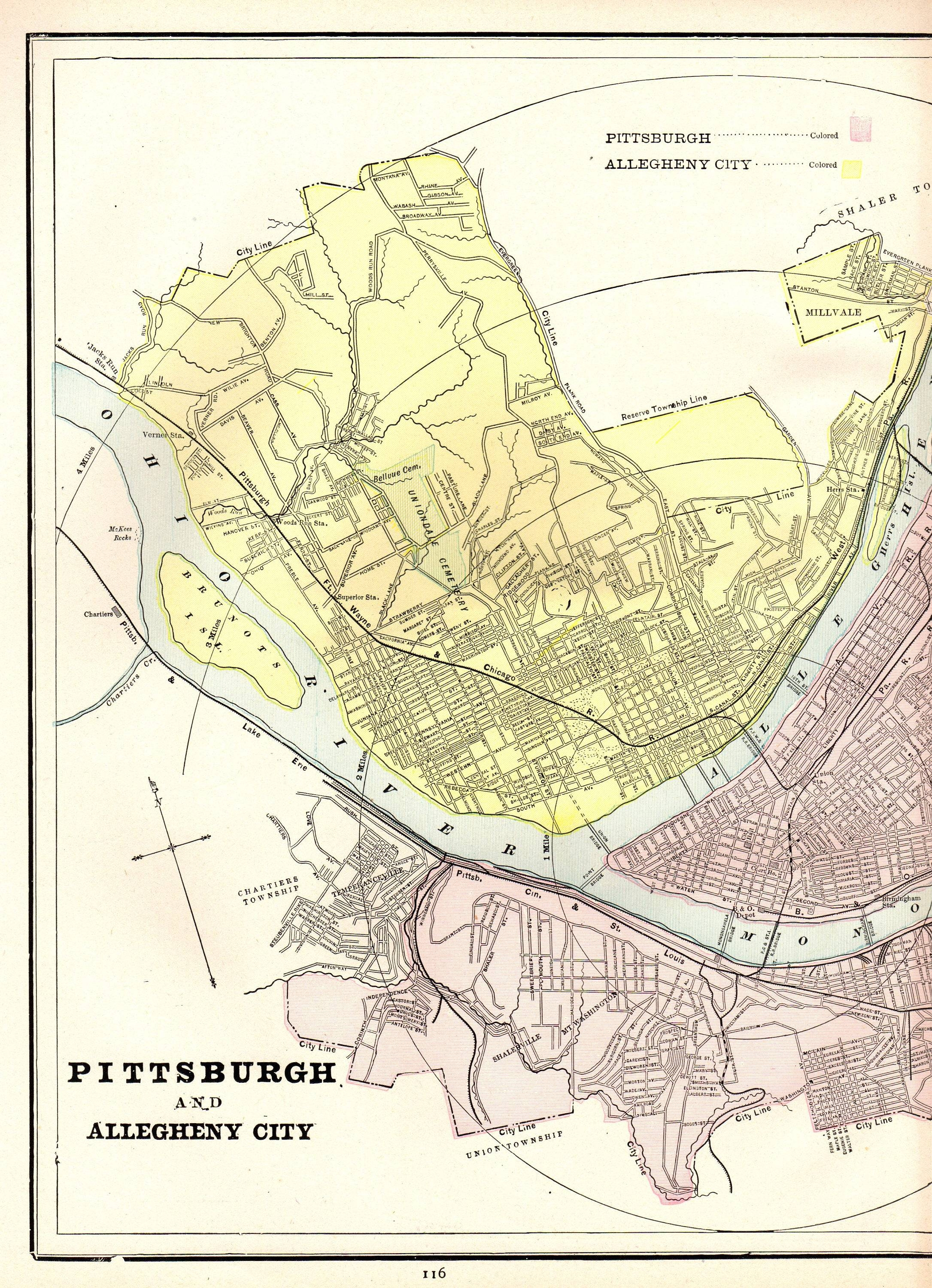 1886 Antique Pittsburgh Map Of Pittsburgh City Map Gallery Intended For Newest Pittsburgh Map Wall Art (View 1 of 20)