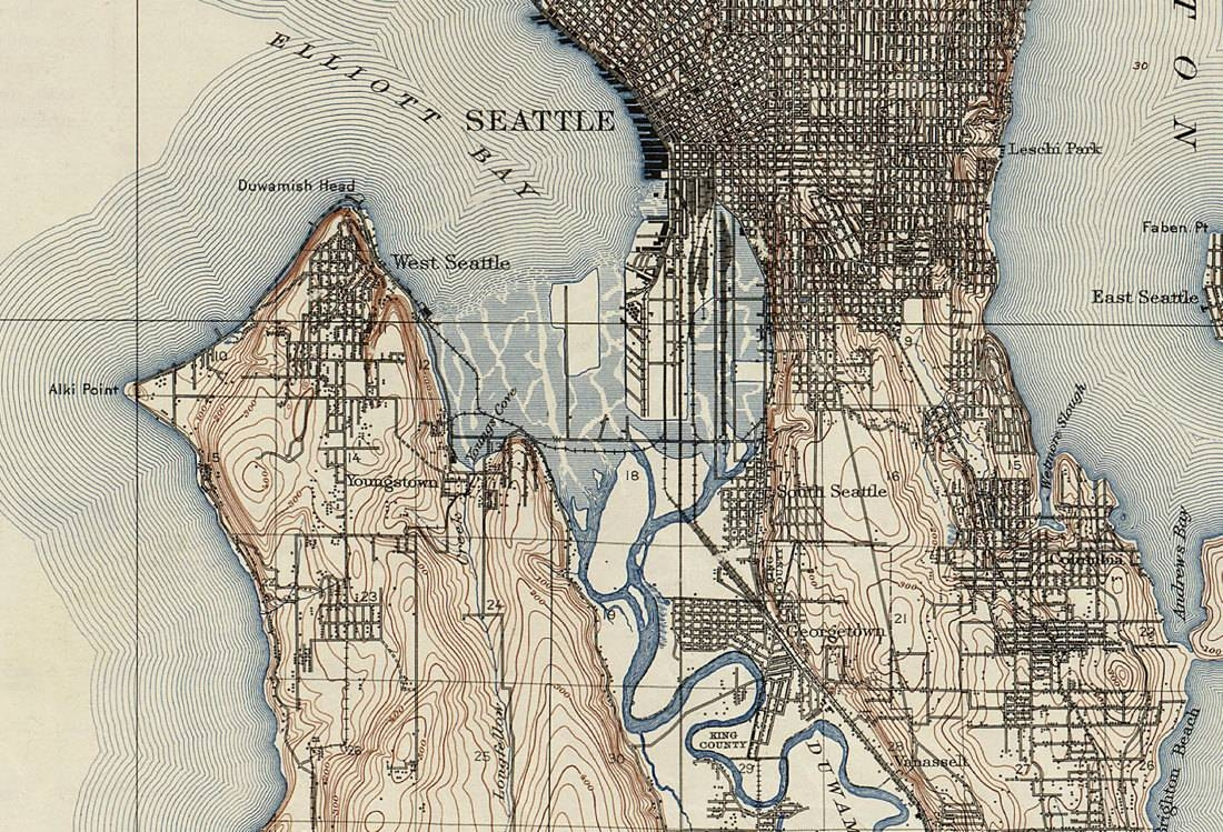1909 Topographic Map Of Seattle – Old Maps And Prints – Emerald Throughout Most Recent Seattle Map Wall Art (View 1 of 20)