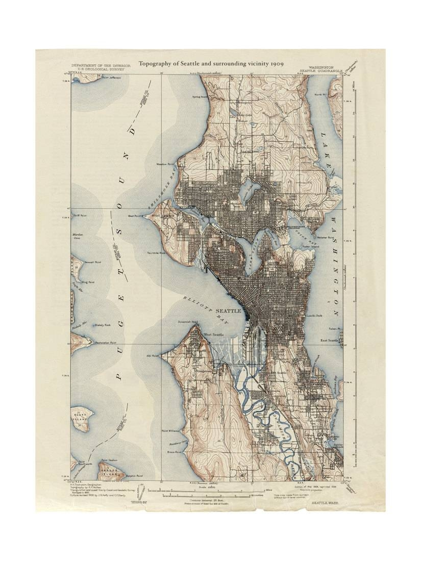 1909 Topographic Map Of Seattle – Old Maps And Prints – Emerald Within Best And Newest Seattle Map Wall Art (View 2 of 20)