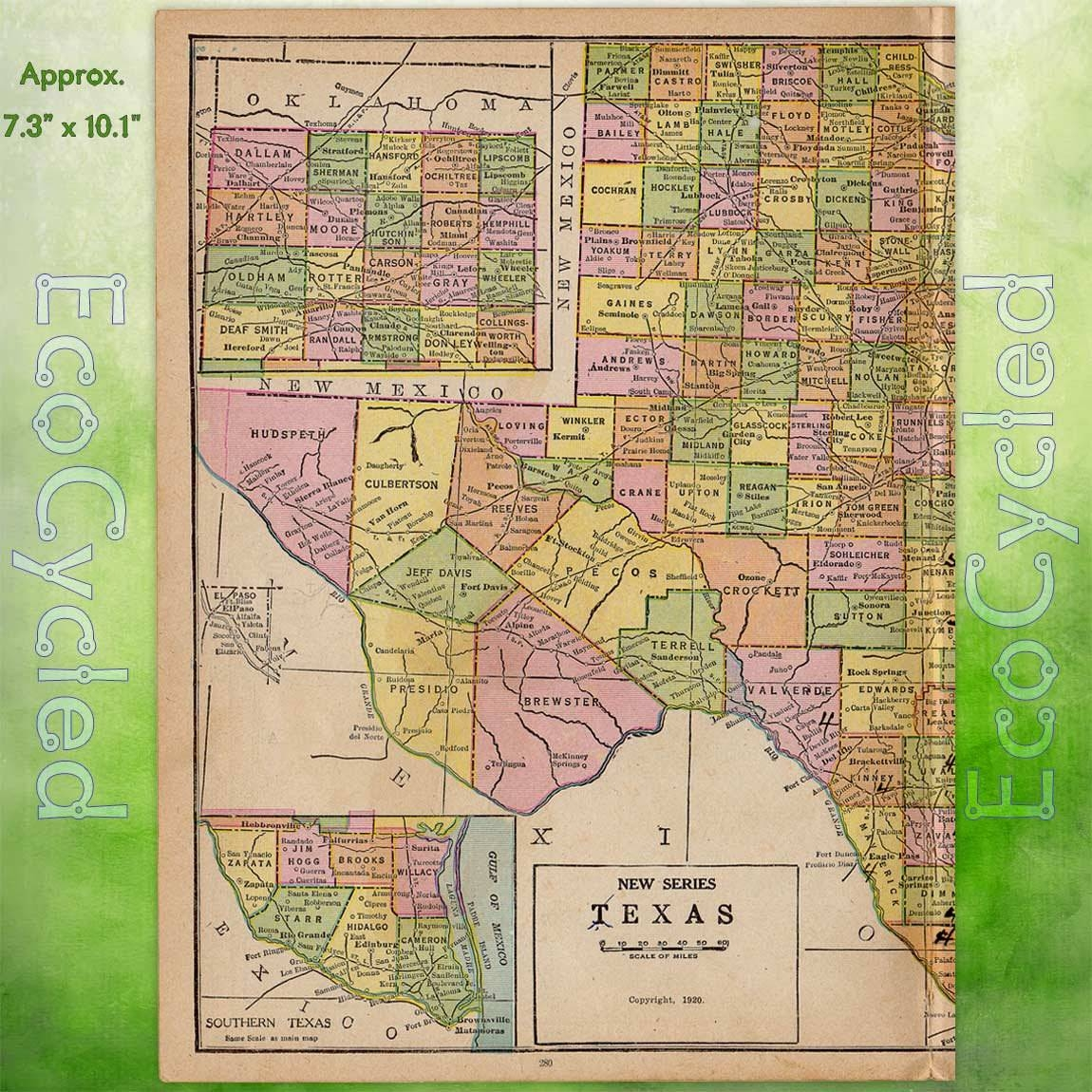 1920S Texas Map/ Unique Wall Art Vintage Atlas/ Retro Decor Gift With Regard To Most Recently Released Texas Map Wall Art (View 5 of 20)