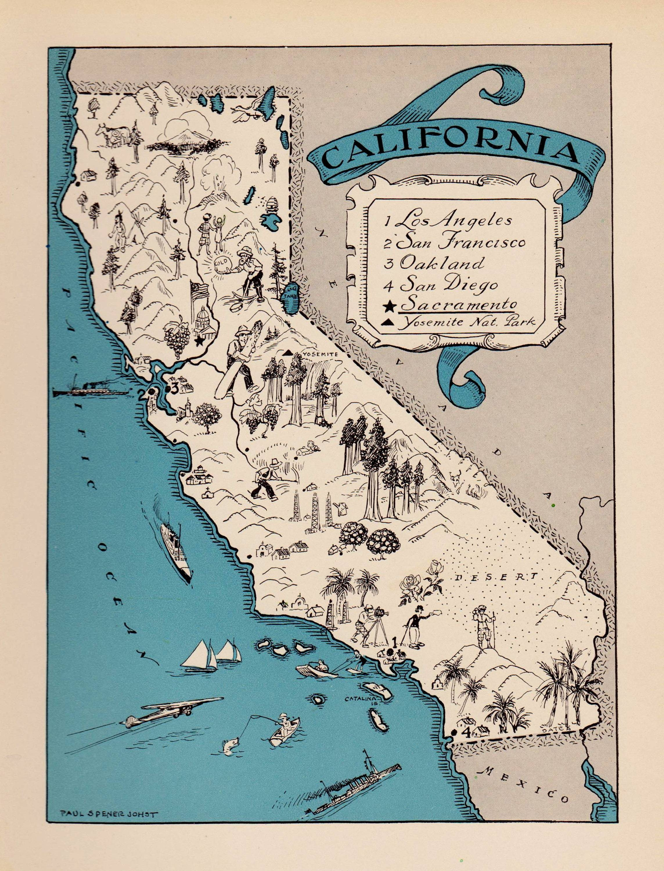 1930's Vintage California Picture Map Pictorial State Throughout Most Current San Diego Map Wall Art (View 1 of 20)