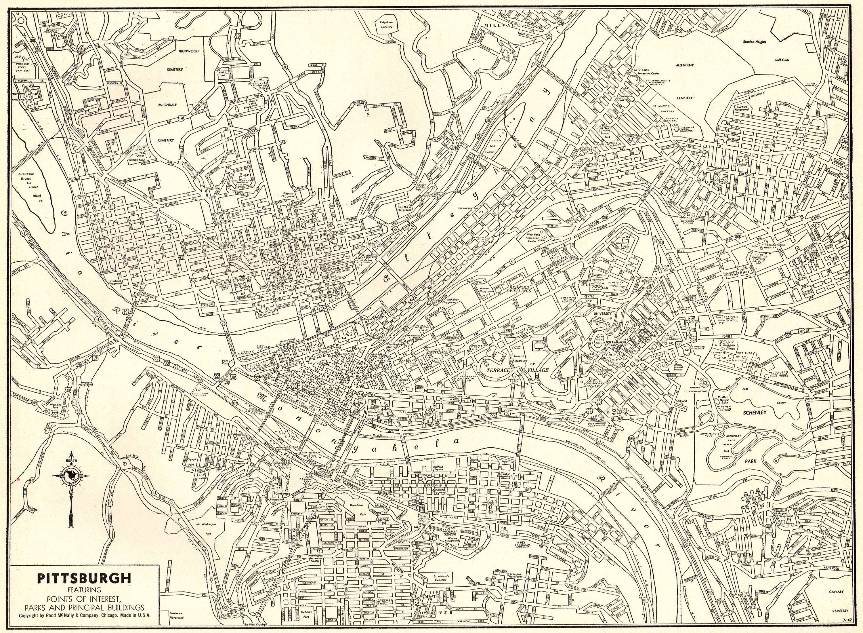 1942 Antique Pittsburgh Map Vintage Map Of Pittsburgh Throughout Current Pittsburgh Map Wall Art (View 2 of 20)