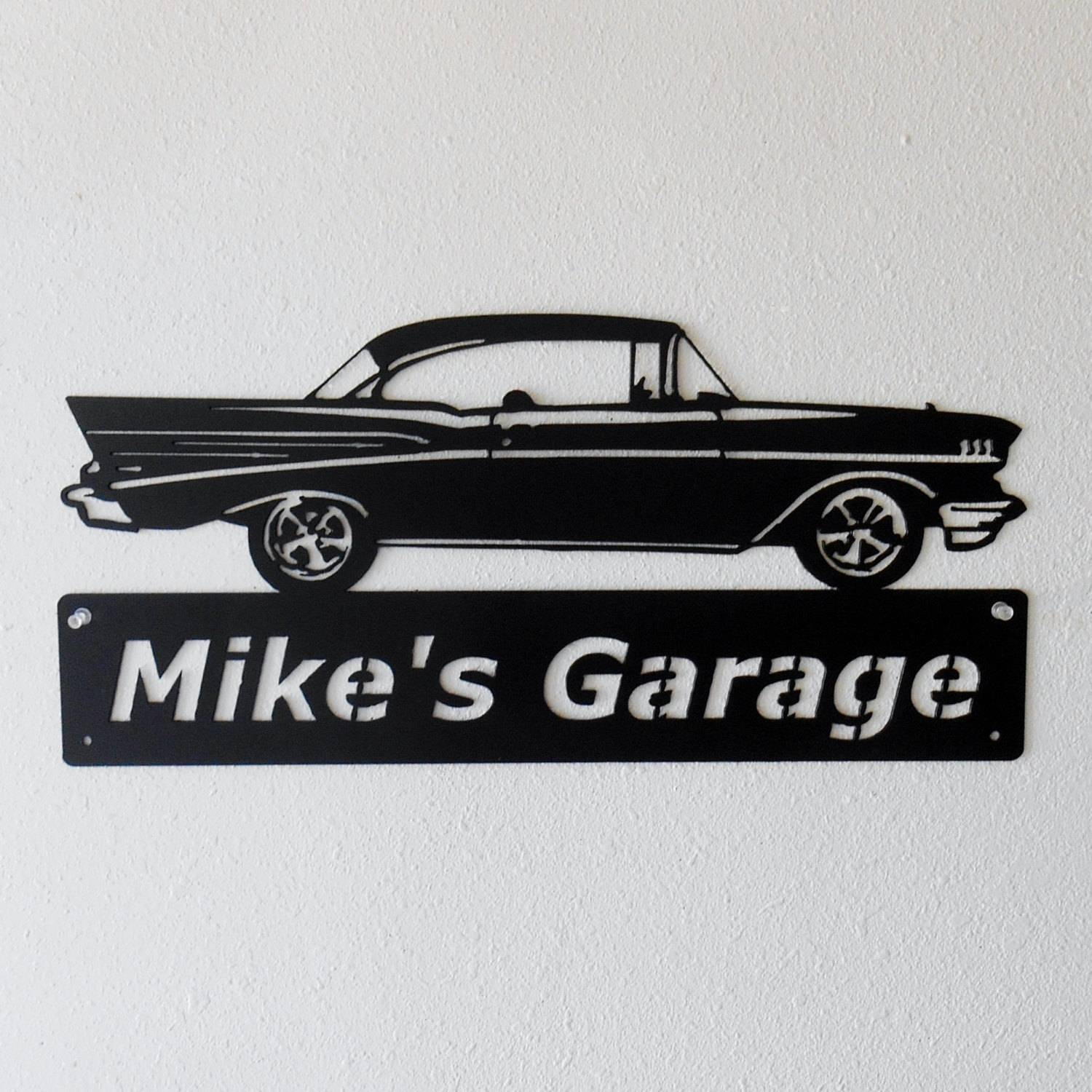 1957 Chevrolet Bel Air Metal Car Sign Man Cave Sign Inside Most Recent Car Metal Wall Art (Gallery 4 of 20)