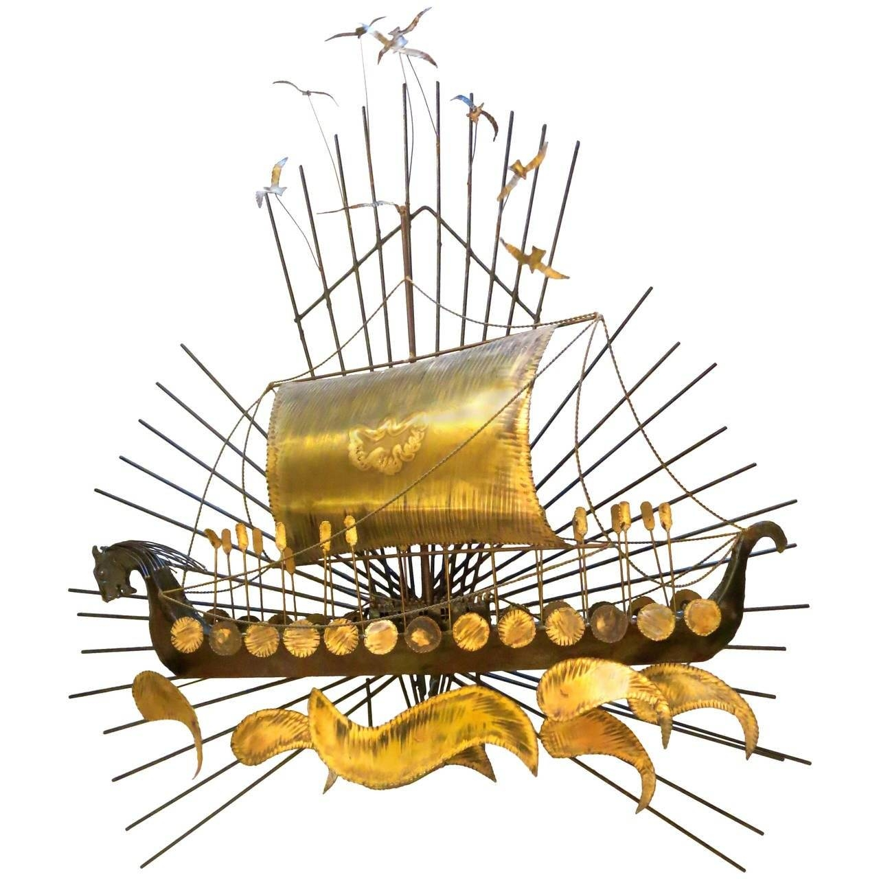 1960S Striking Large Viking Ship Wall Sculpture Metal And Brass At With 2018 Metal Wall Art Ships (View 1 of 20)