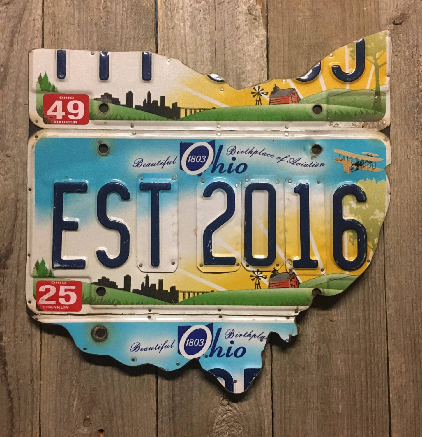 2 Year Anniversary Gift Ohio License Plate Map – Established 2016 In Most Recent License Plate Map Wall Art (Gallery 18 of 20)