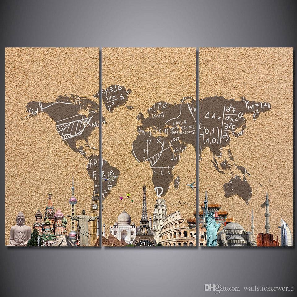 2018 3 Panel Hd Printed Framed Vintage World Map Building Wall With Most Up To Date Vintage World Map Wall Art (View 10 of 20)