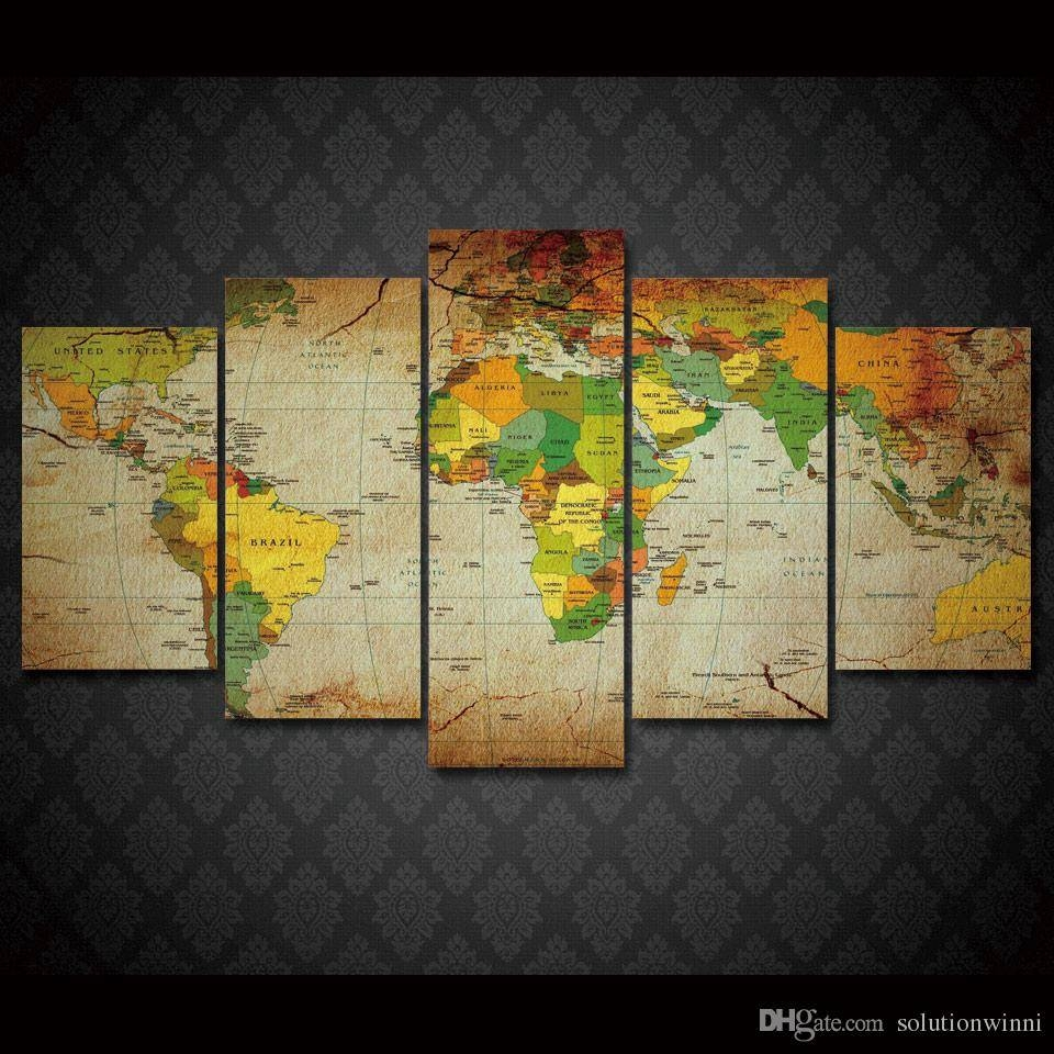 2018 Framed Hd Printed Old World Map Wall Art Canvas Print Poster In Recent Framed Map Wall Art (View 1 of 20)