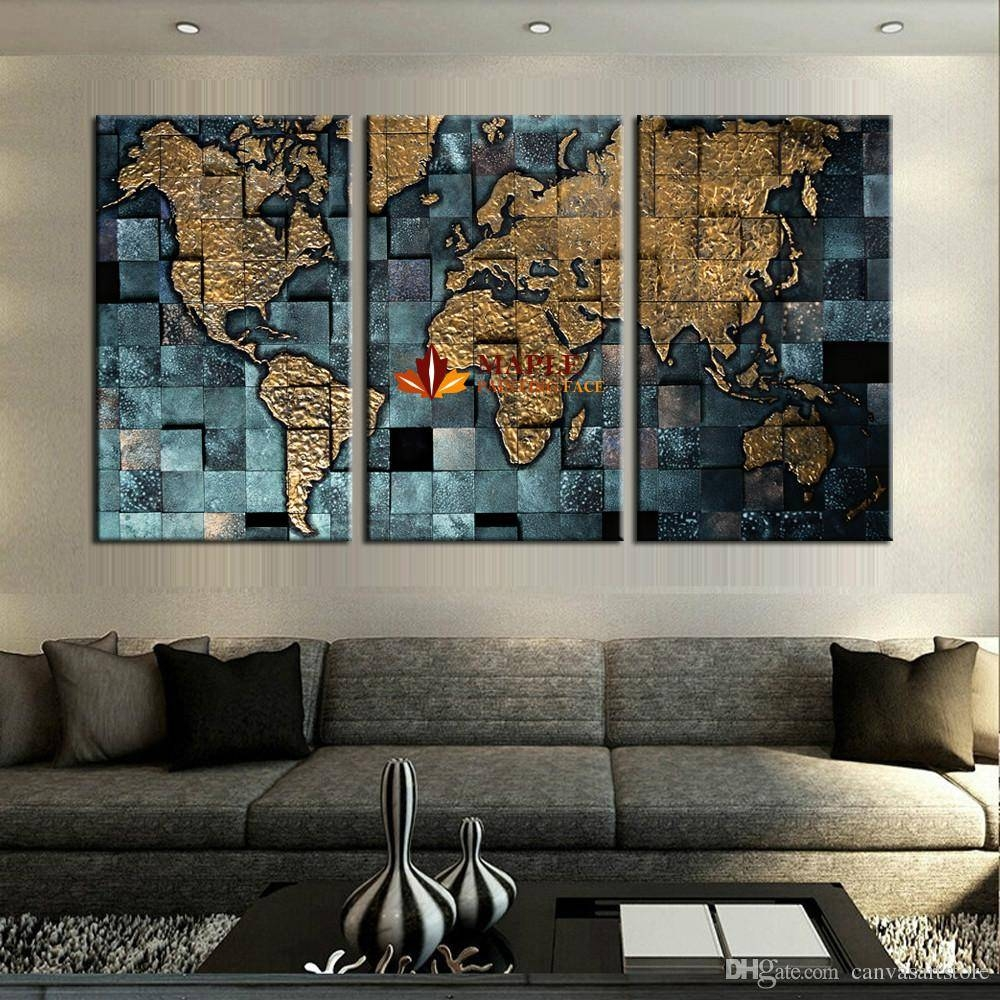 2018 Large Canvas Prints Modern Wall Art The Abstract World Map In 2017 Large Map Wall Art (Gallery 6 of 20)