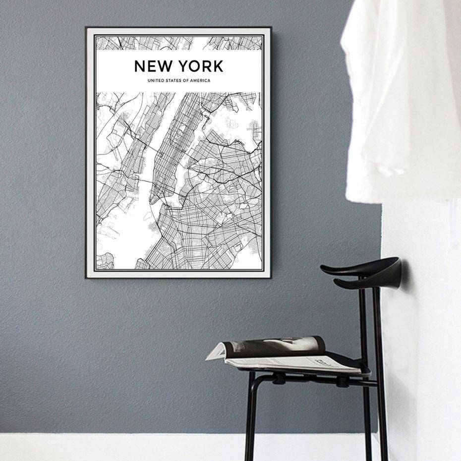 2018 Minimalist New York City Map Canvas Painting Black And White Pertaining To Most Up To Date New York City Map Wall Art (View 1 of 20)