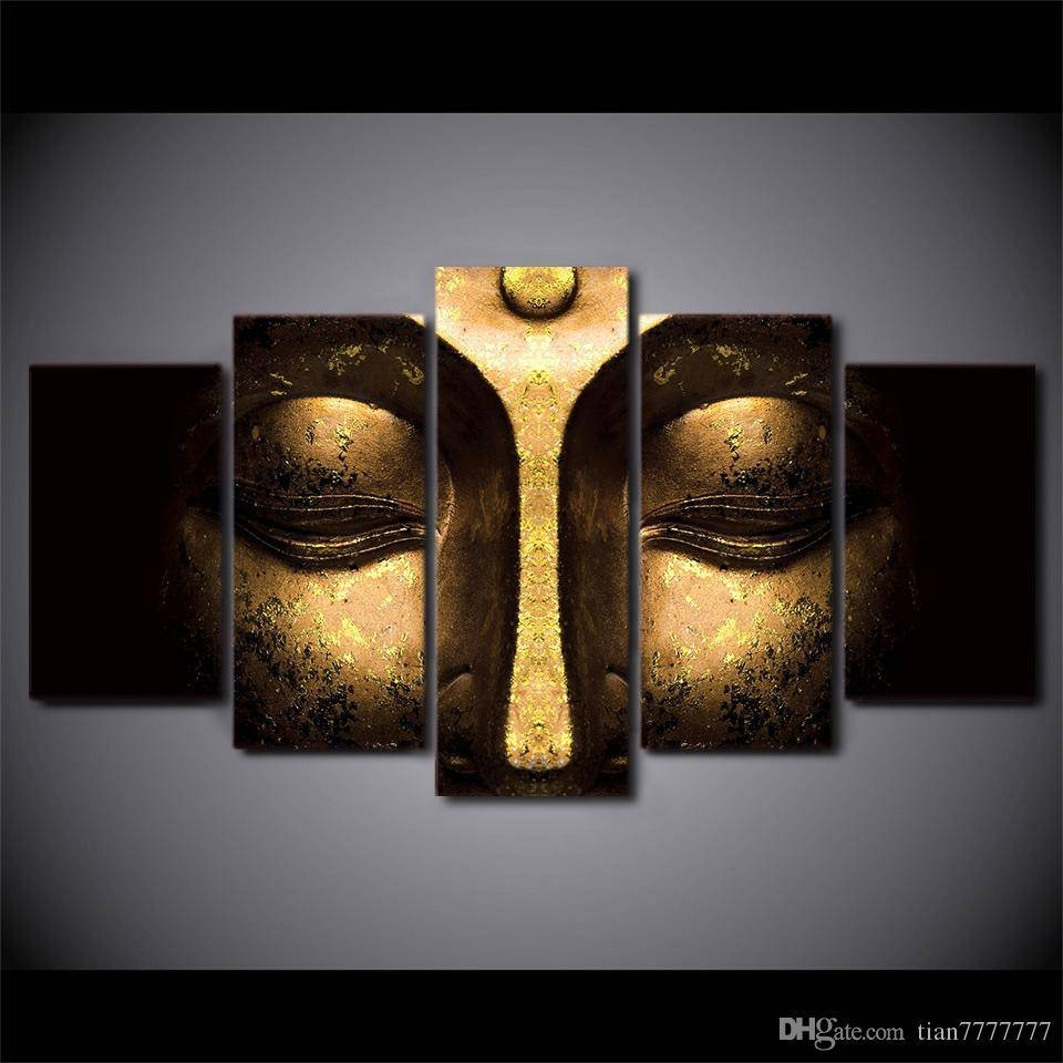 2018 No Frame Half Face Buddha Paintings On Canvas Modern Home For Recent Buddha Metal Wall Art (View 2 of 20)