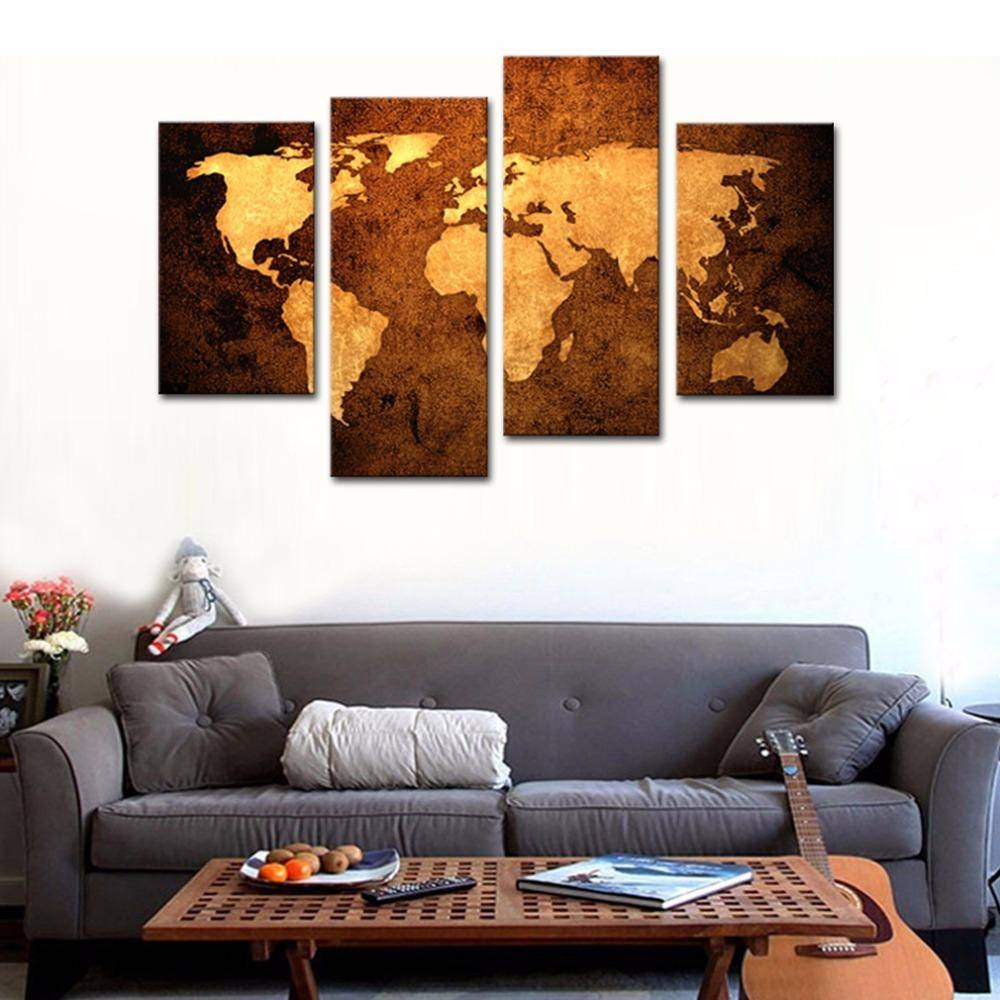 2018 World Map Wall Art Painting Print On Canvas Modern Giclee With Most Recent World Map Wall Artwork (View 15 of 20)