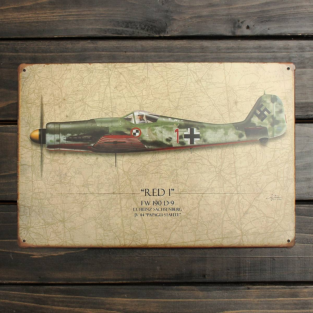 20X30Cm World War Vintage Military Battle Plane Sheet Metal Intended For Current Sheet Metal Wall Art (View 1 of 20)