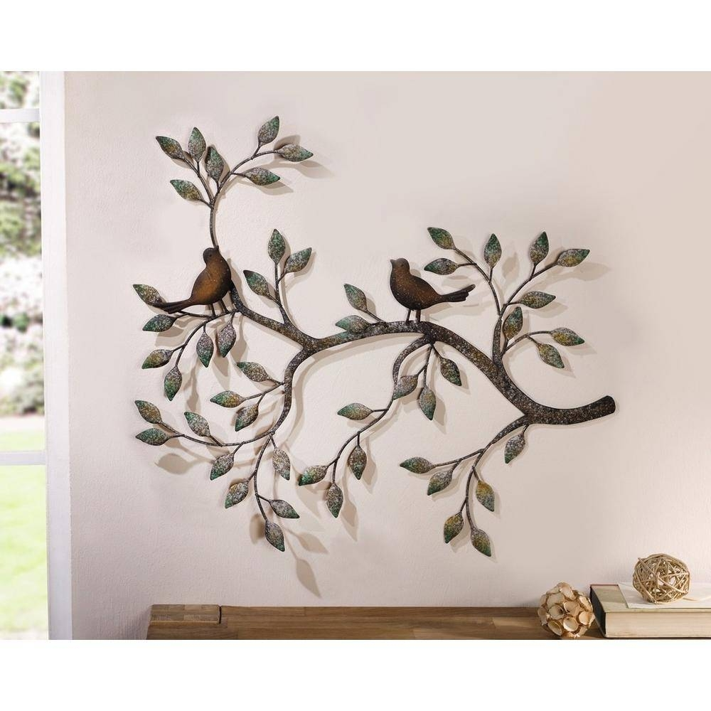 24 In. X 18.5 In. Metal Branches W/ Birds And Leaves Decorative Inside Latest Branches Metal Wall Art (Gallery 19 of 20)