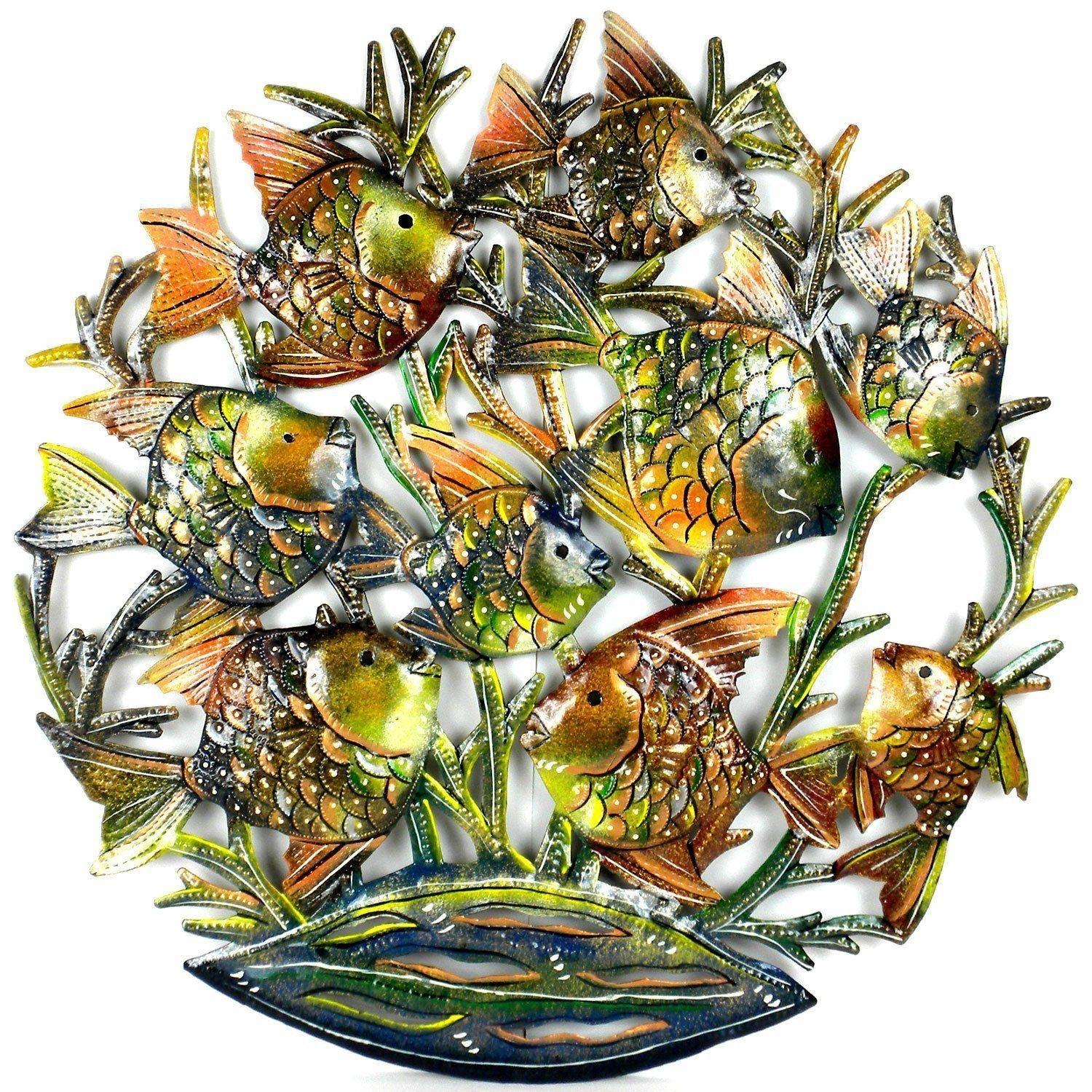 24 Inch Painted School Of Fish Metal Wall Art – Croix Des Bouquets Within 2017 School Of Fish Metal Wall Art (View 1 of 20)