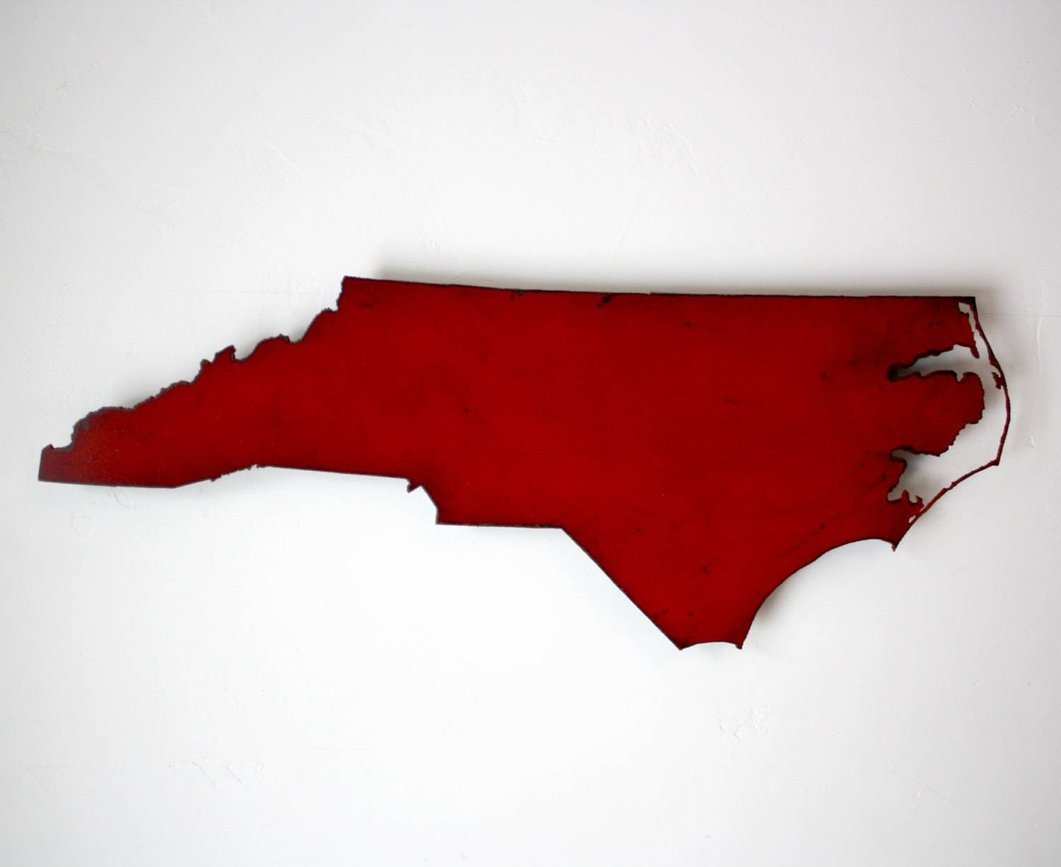 24 Wide North Carolina Metal Map Wall Art Choose Your Pertaining To Newest Red Metal Wall Art (Gallery 18 of 20)