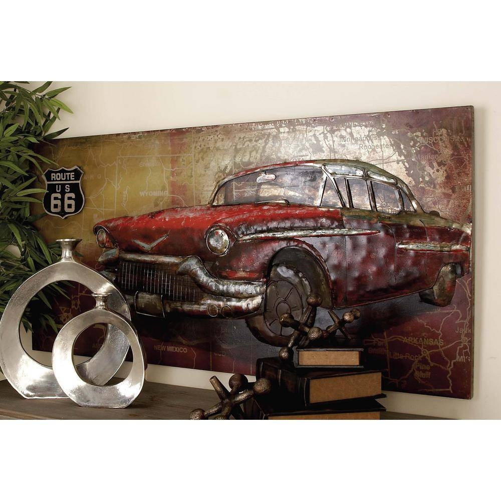 28 In. X 55 In. Rustic Iron Vintage Car And Route 66 Wall Art Inside Most Popular Car Metal Wall Art (Gallery 1 of 20)