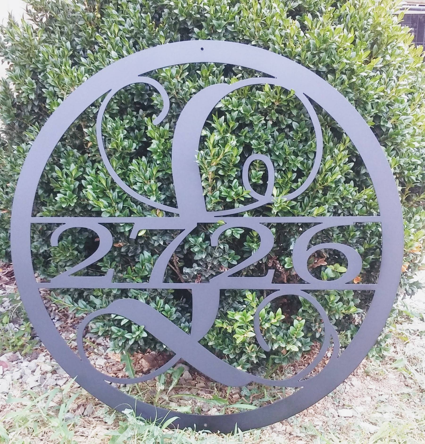 28 Inch Circle Monogram With House Number, Metal Wall Art, 28 Inch In Most Up To Date Monogram Metal Wall Art (View 1 of 20)