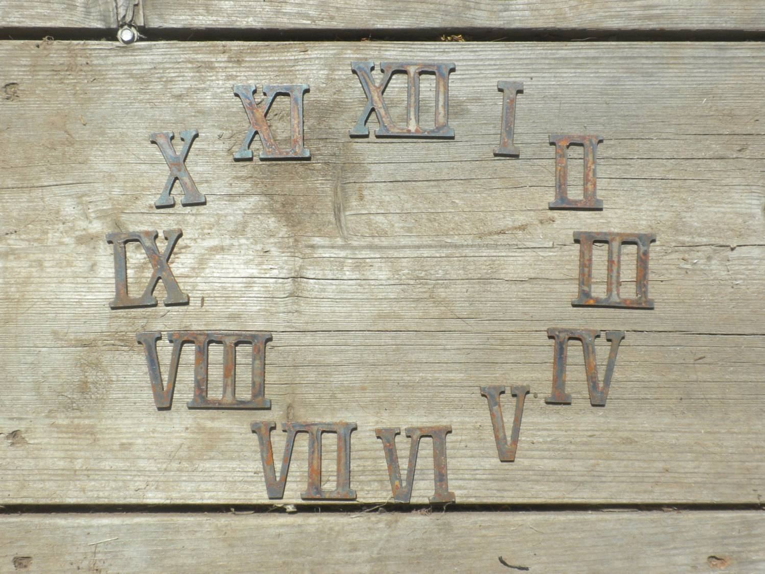 3 Inch Roman Numerals Numbers Clock Set 1-12 Rusty Vintage within Most Popular Vintage Metal Wall Art