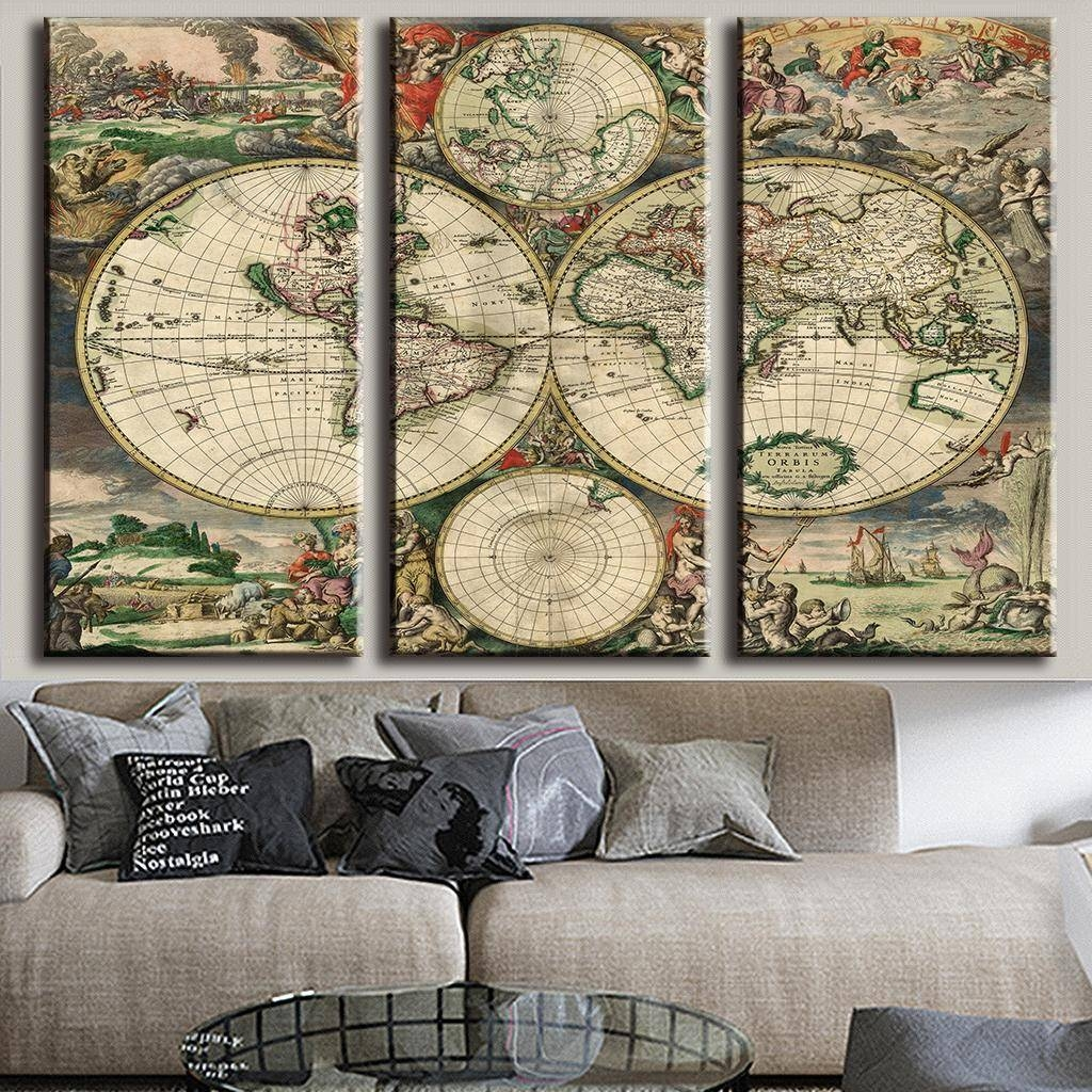 3 Pcs/set Retro Europe Old World Map Canvas Prints Painting Within 2018 Europe Map Wall Art (View 2 of 20)