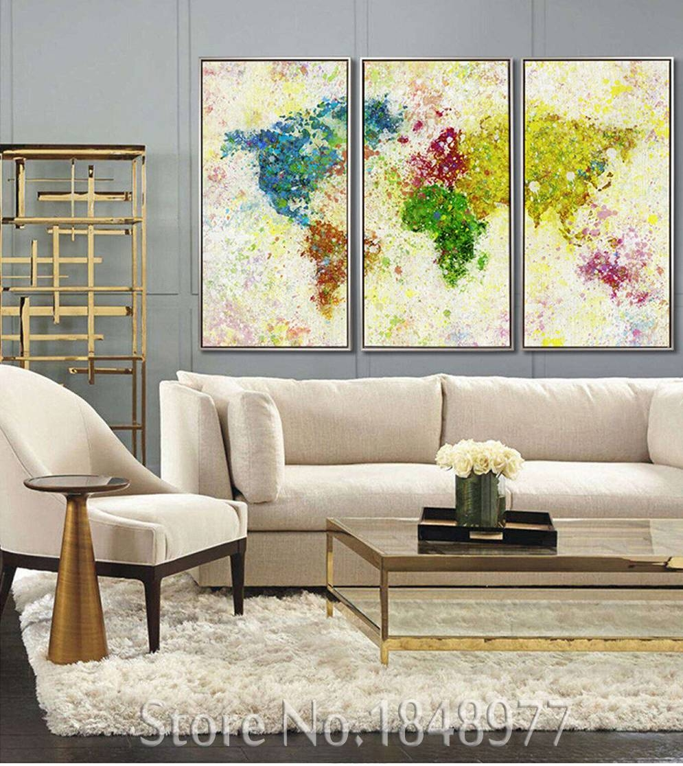3 Piece Modern Abstract World Map Print Rainbow Map Painting On In Most Up To Date Abstract Map Wall Art (View 20 of 20)