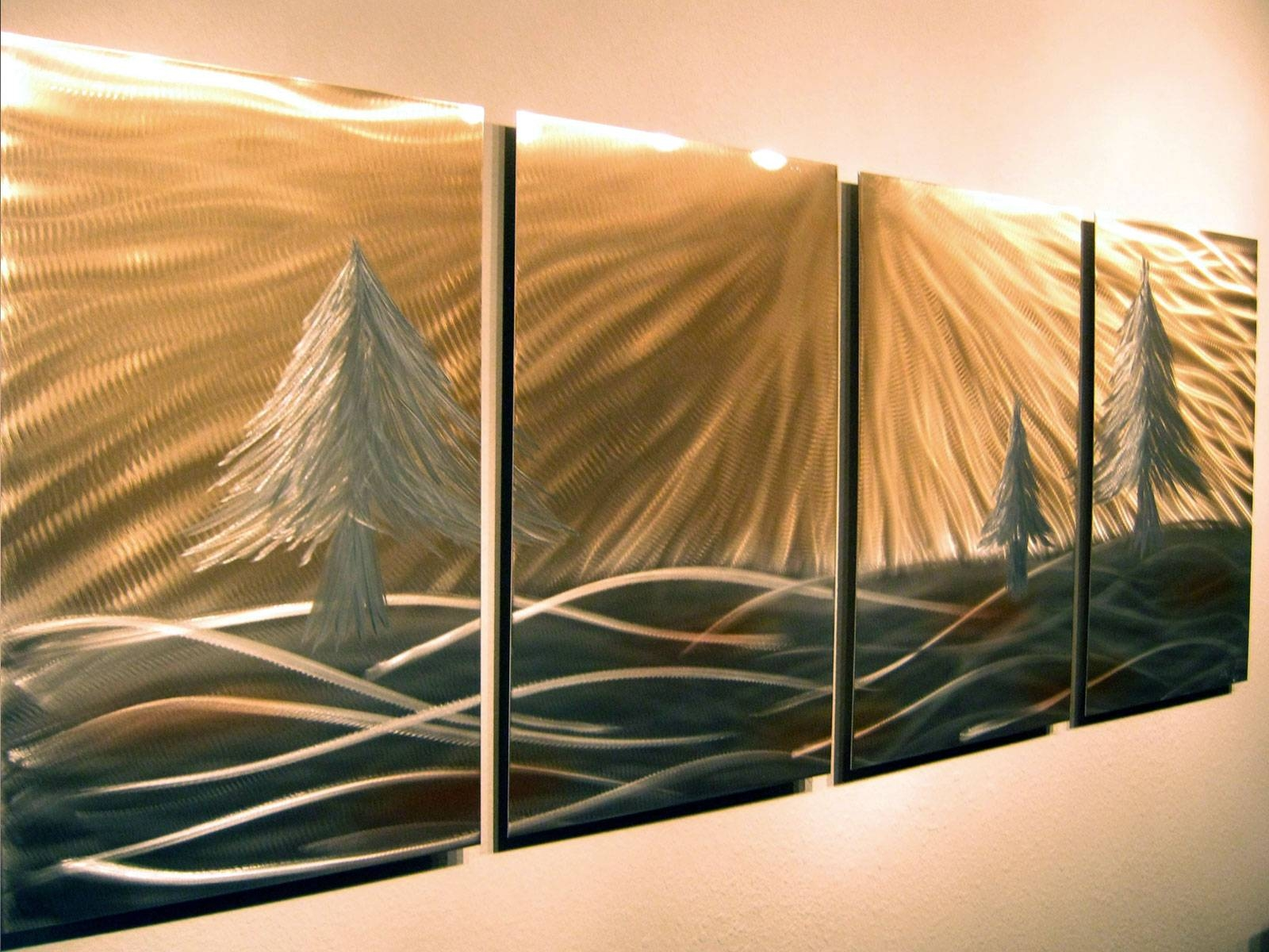3 Pine Trees – Abstract Metal Wall Art Contemporary Modern Decor With Regard To 2018 Modern Abstract Metal Wall Art (View 1 of 20)