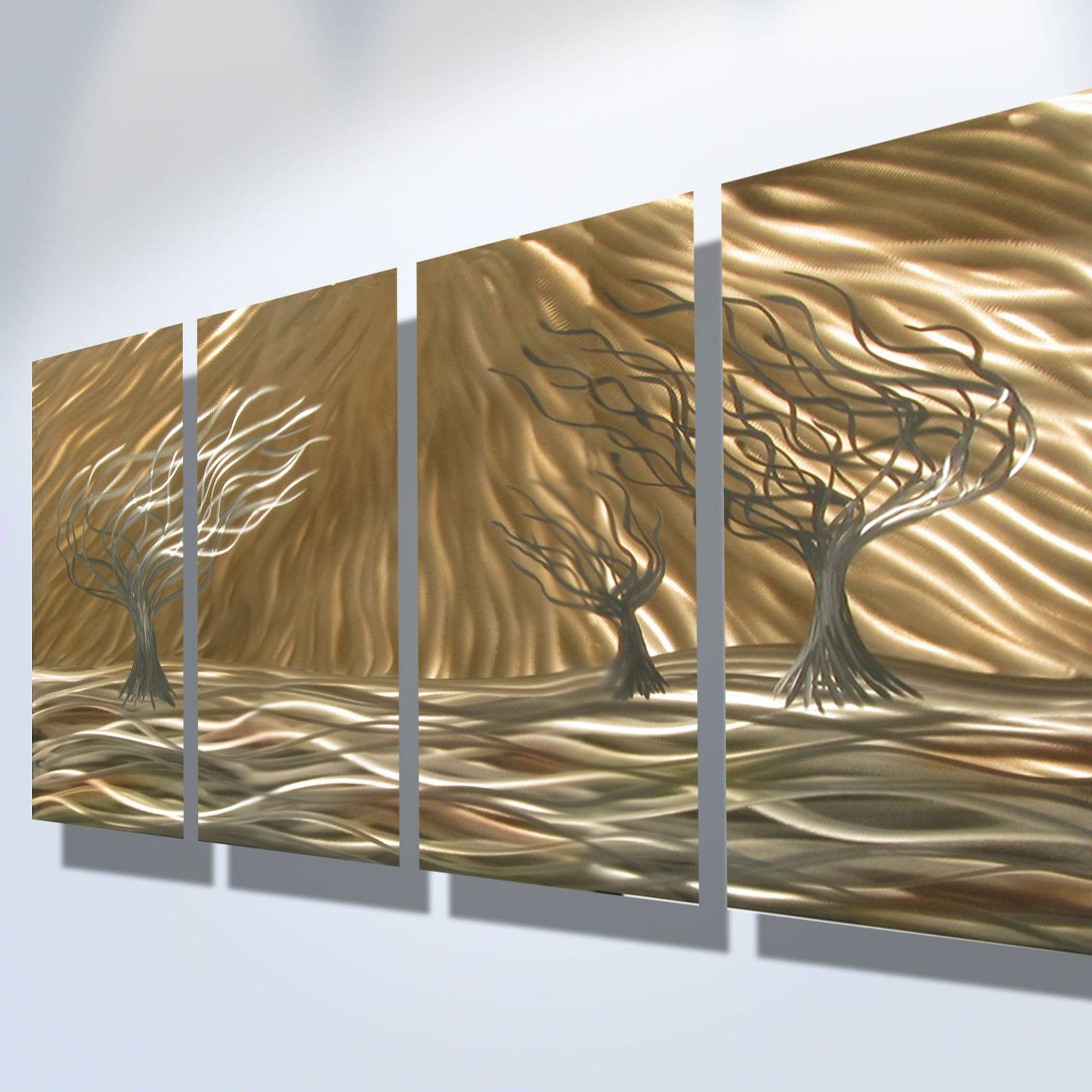 3 Trees 4 Panel – Abstract Metal Wall Art Contemporary Modern Inside Current Gold Metal Wall Art (Gallery 12 of 20)