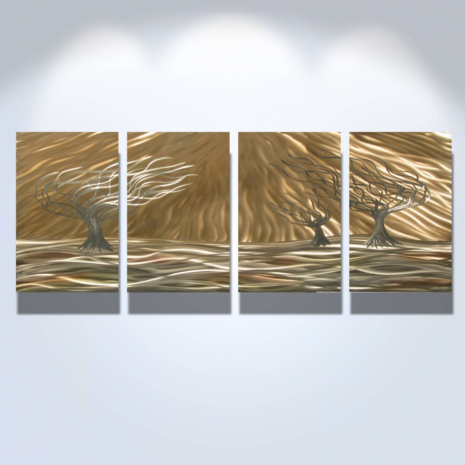 3 Trees 4 Panel – Abstract Metal Wall Art Contemporary Modern Regarding Recent Decorative Metal Wall Art Panels (Gallery 17 of 20)