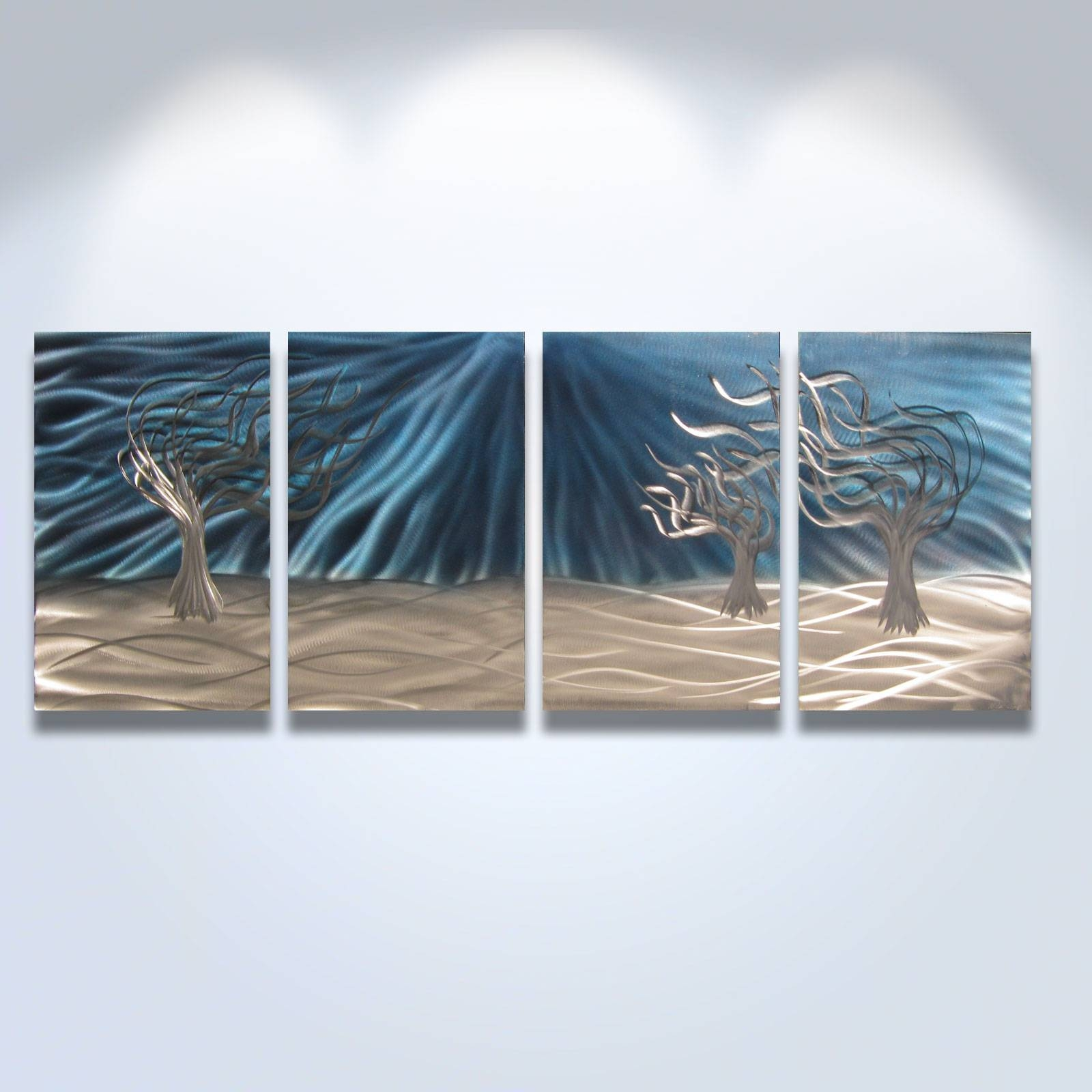 3 Trees Blue – Abstract Metal Wall Art Contemporary Modern Decor Within Latest 3 Piece Metal Wall Art (View 3 of 20)