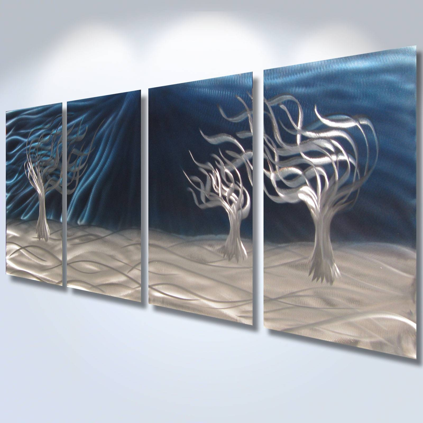 3 Trees Blue – Abstract Metal Wall Art Contemporary Modern Decor Within Latest Modern Abstract Metal Wall Art (View 4 of 20)