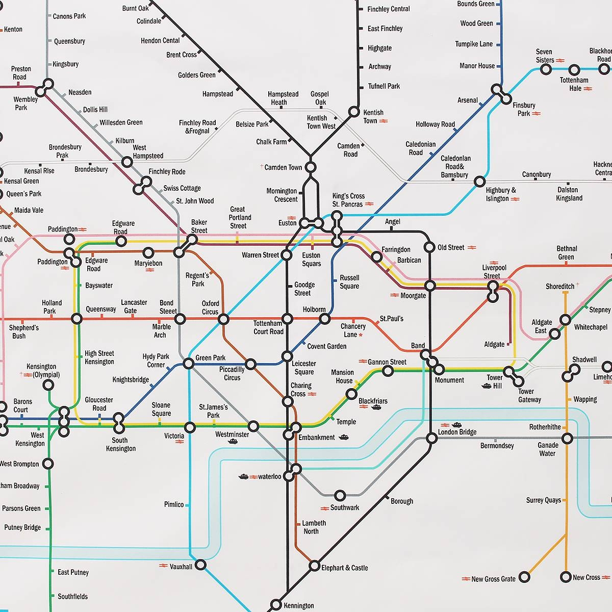 35x23 Inches London Underground Metro Map Retro Wall Art Silk In Most Recently Released Metro Map Wall Art (View 18 of 20)