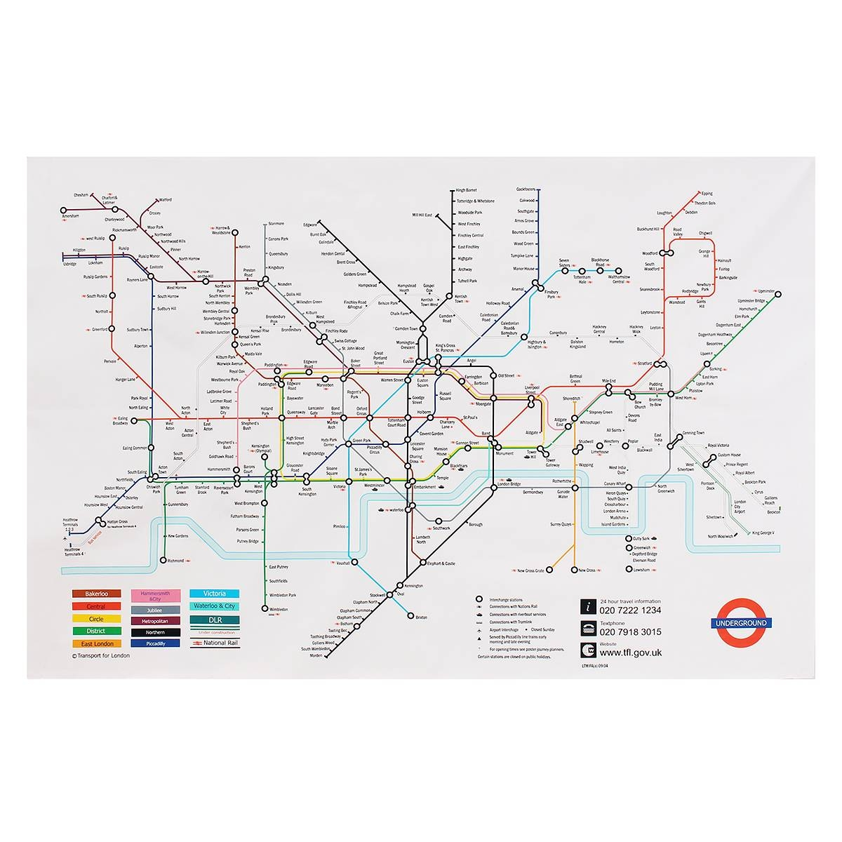 35X23 Inches London Underground Metro Map Retro Wall Art Silk Intended For Most Recent Metro Map Wall Art (Gallery 7 of 20)